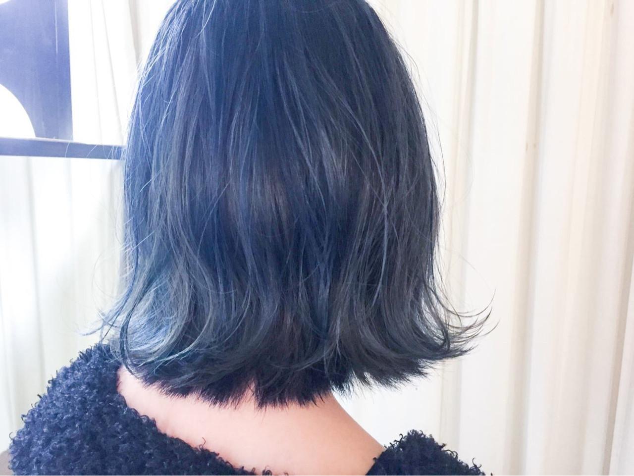 グレージュ ブルージュ 外ハネ ブルーアッシュ ヘアスタイルや髪型の写真・画像