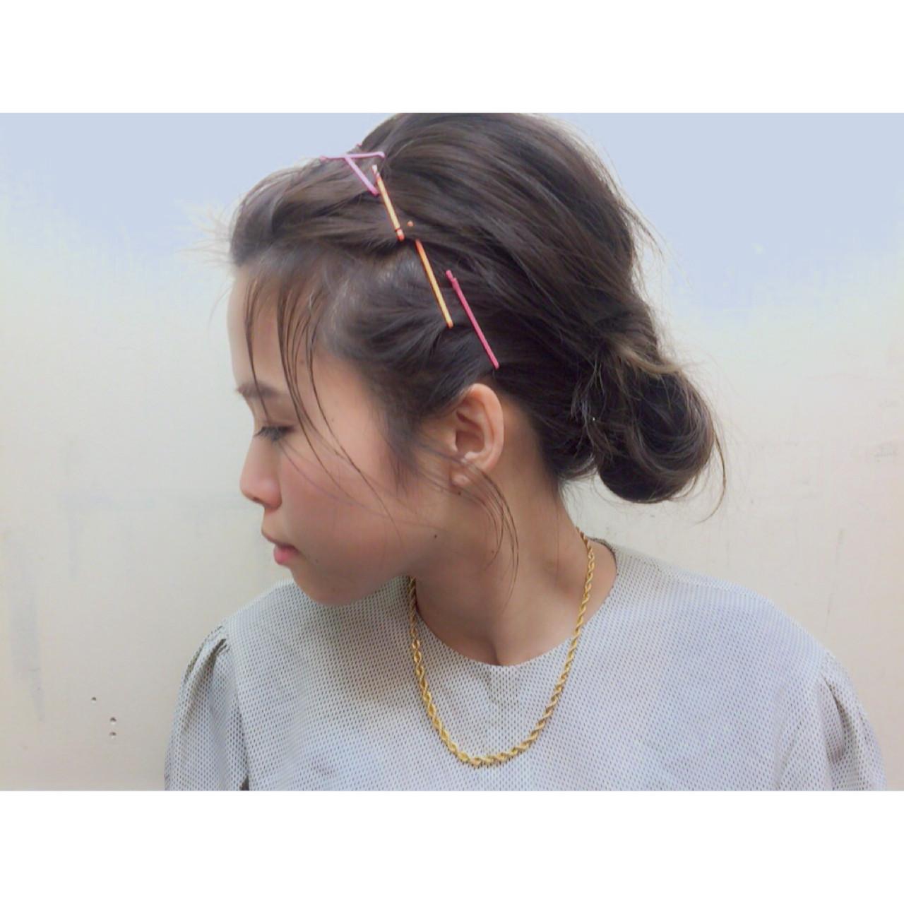 夏 ショート ミディアム 簡単ヘアアレンジ ヘアスタイルや髪型の写真・画像