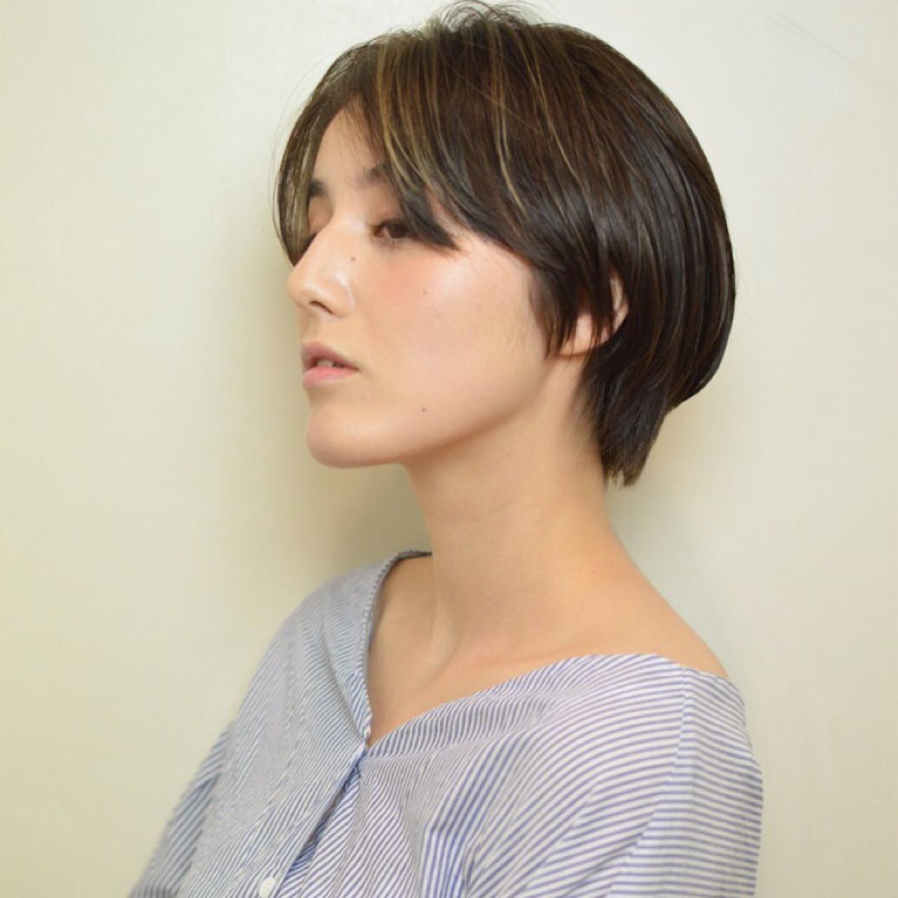 ナチュラル ショート ハイライト かっこいい ヘアスタイルや髪型の写真・画像