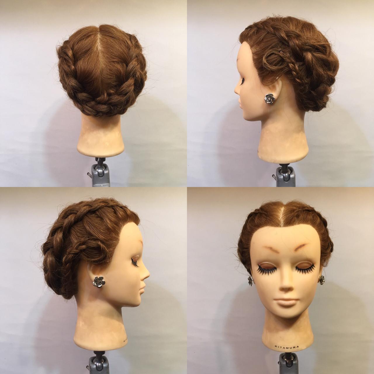 編み込み セミロング パーティ 裏編み込み ヘアスタイルや髪型の写真・画像