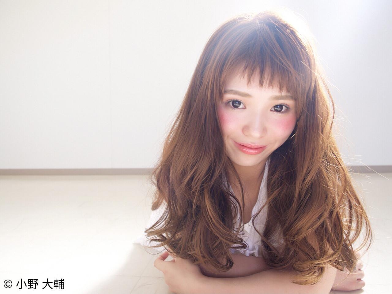 おフェロ ゆるふわ ロング 斜め前髪 ヘアスタイルや髪型の写真・画像