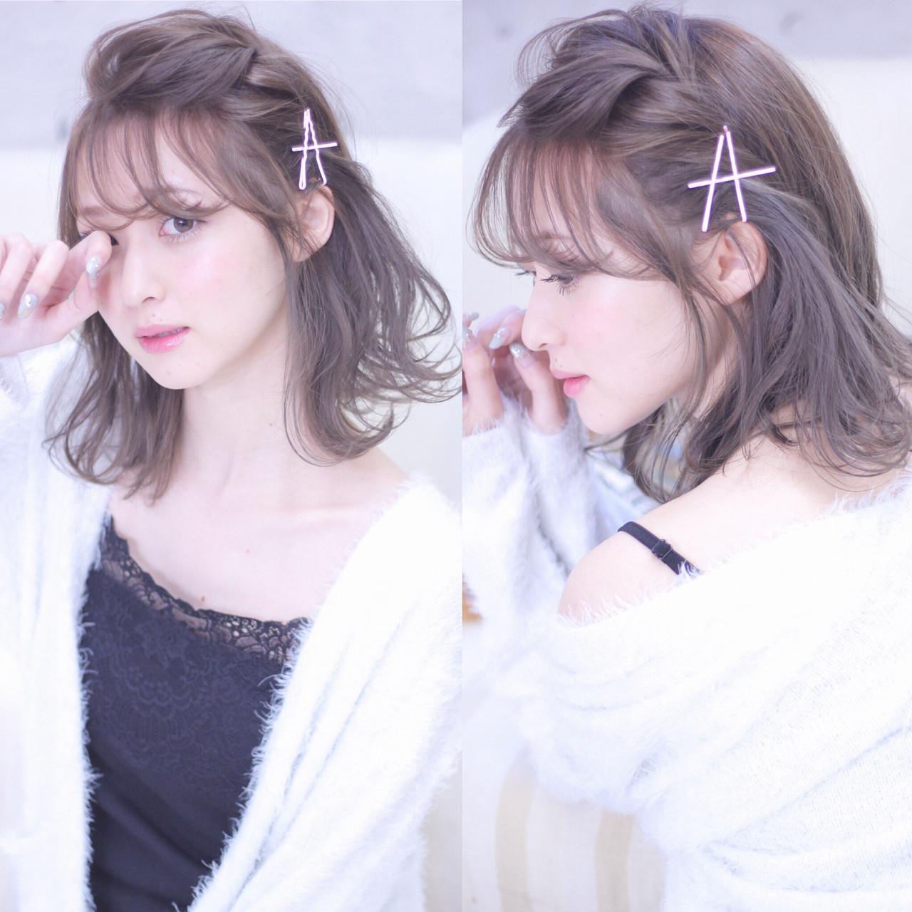 ヘアアレンジ パーマ 編み込み フェミニン ヘアスタイルや髪型の写真・画像