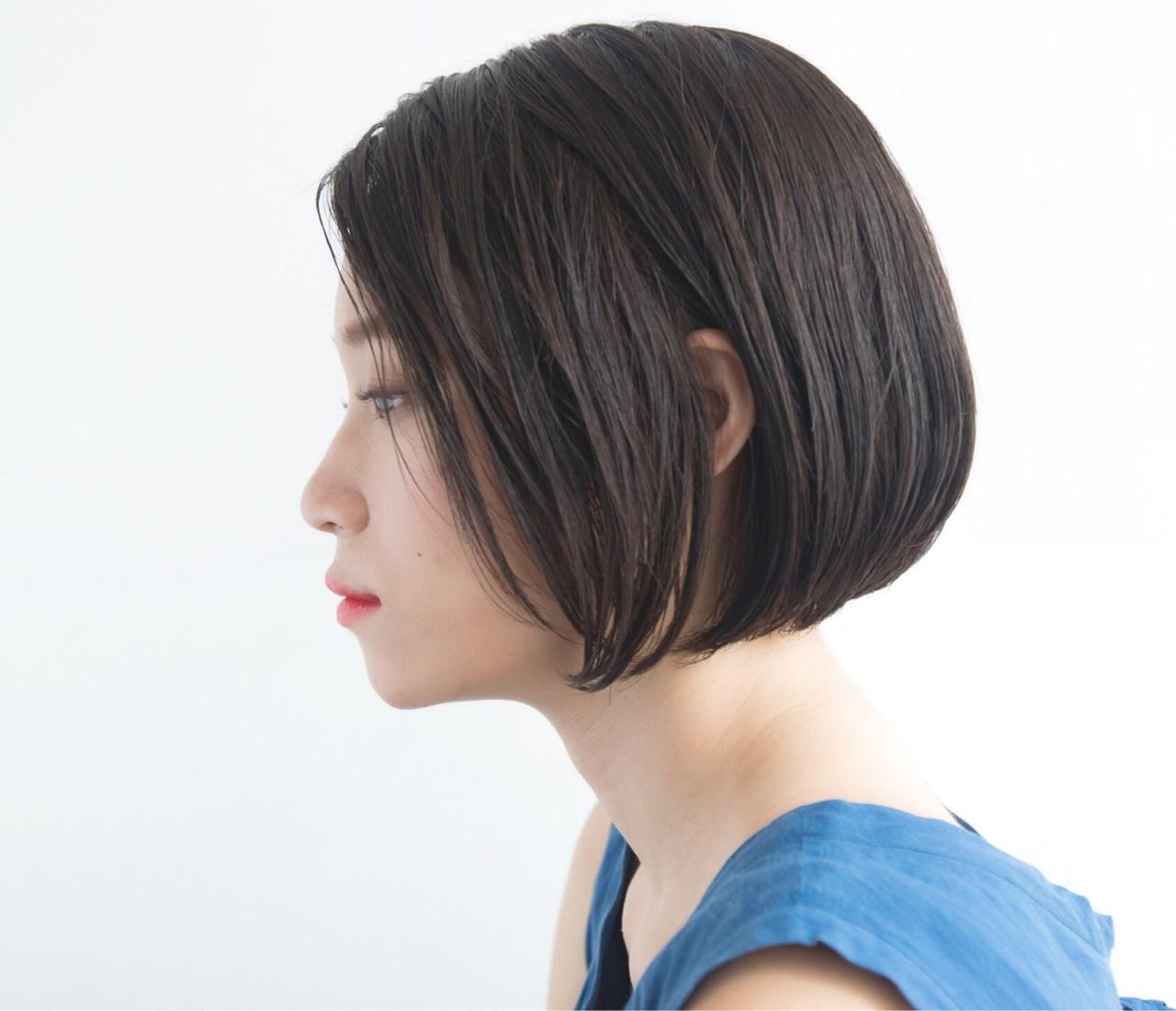 ナチュラル ボブ ピュア ストレート ヘアスタイルや髪型の写真・画像