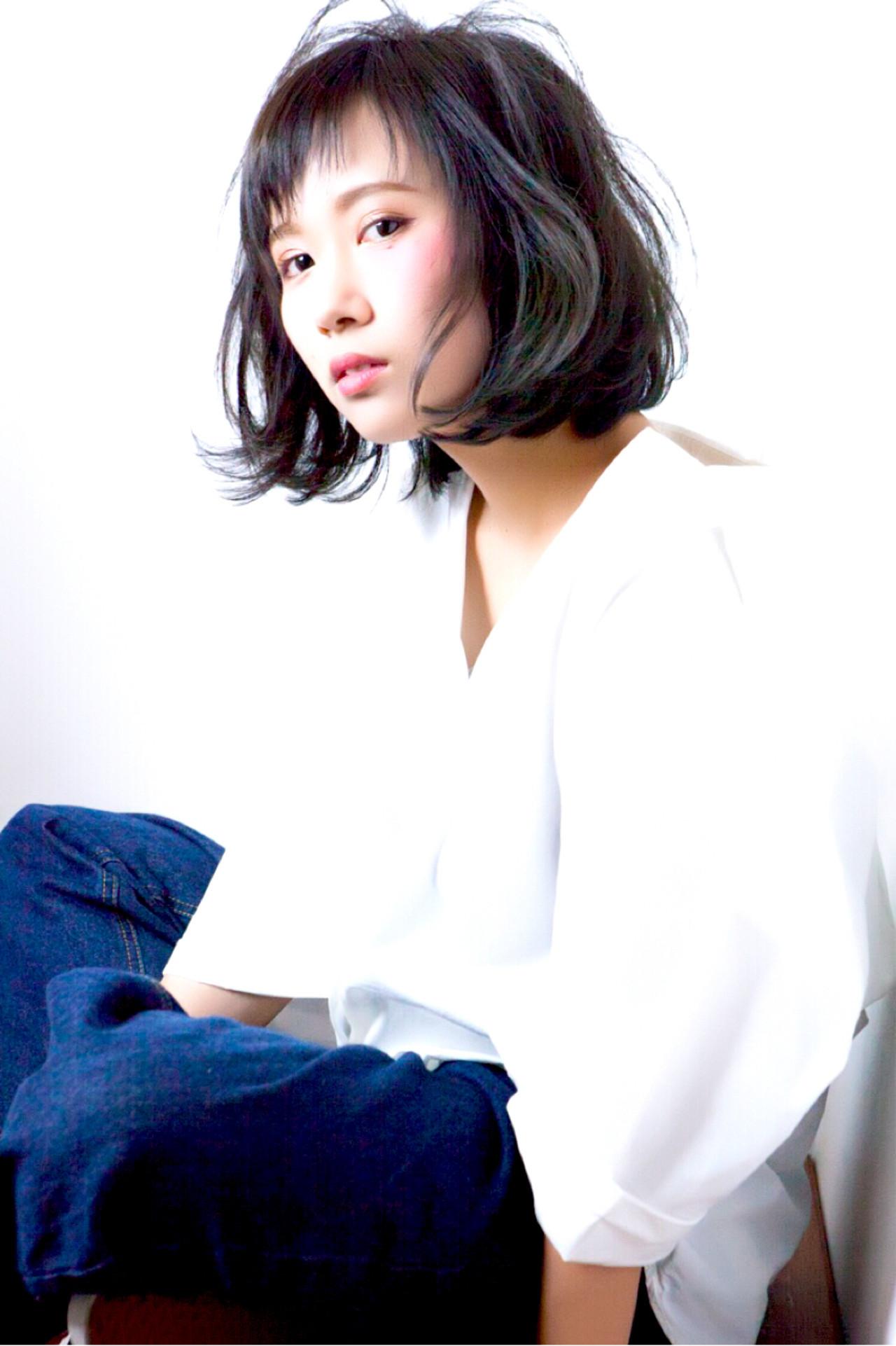 色気 モード 暗髪 エアリー ヘアスタイルや髪型の写真・画像