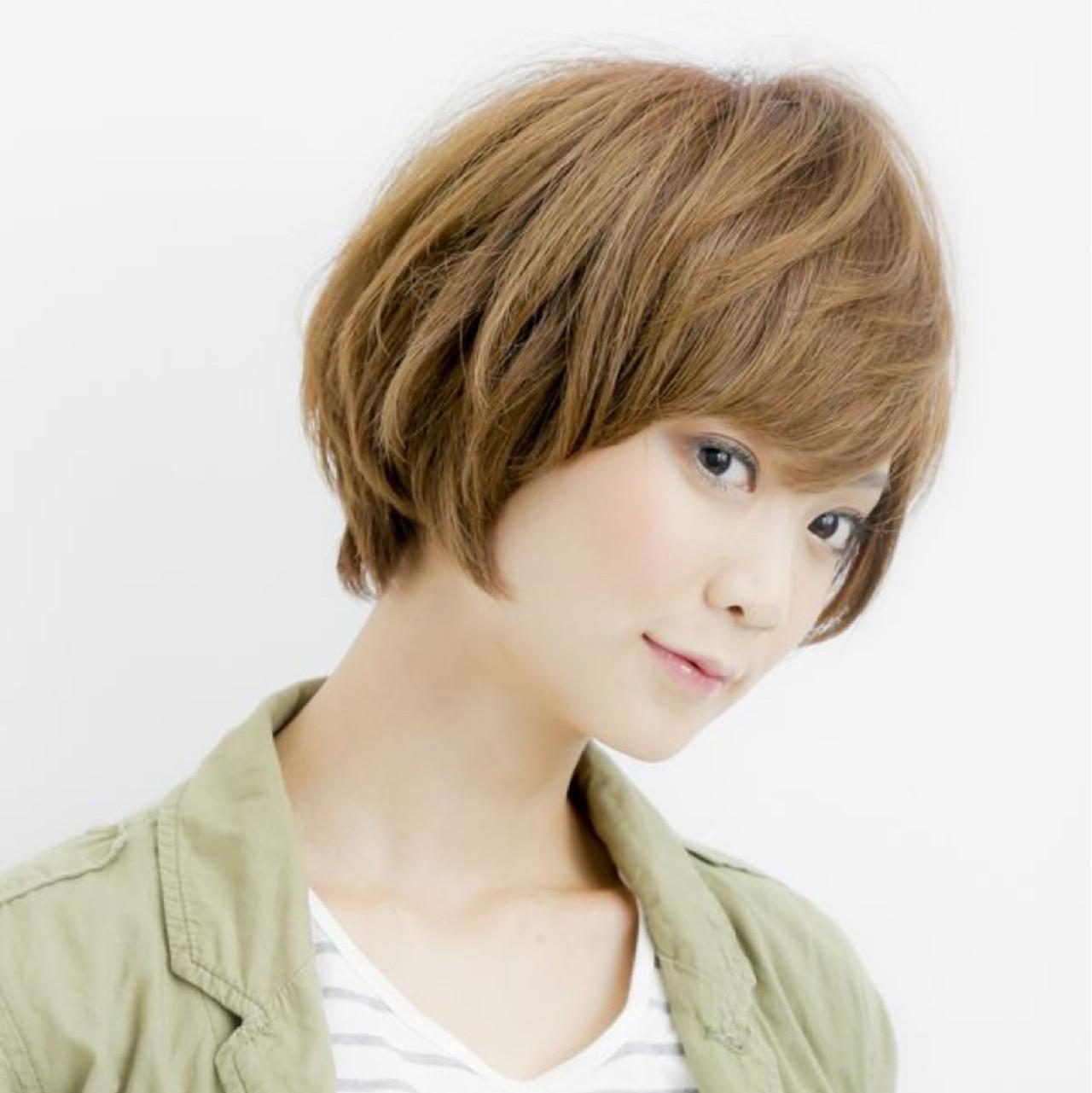 小顔 ナチュラル 似合わせ ショート ヘアスタイルや髪型の写真・画像