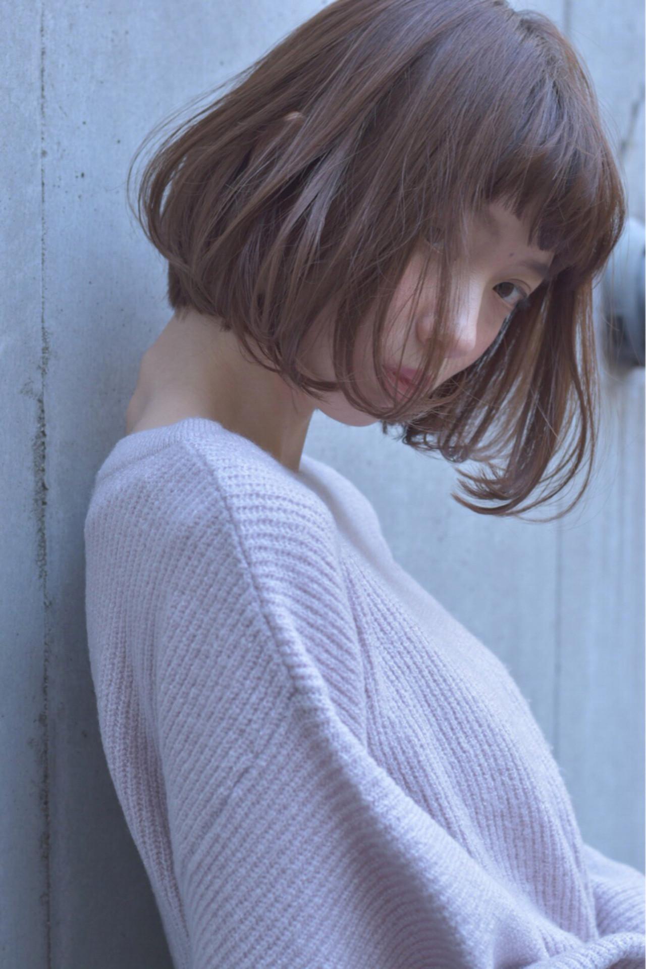 フェミニン ボブ ミルクティー 愛され ヘアスタイルや髪型の写真・画像