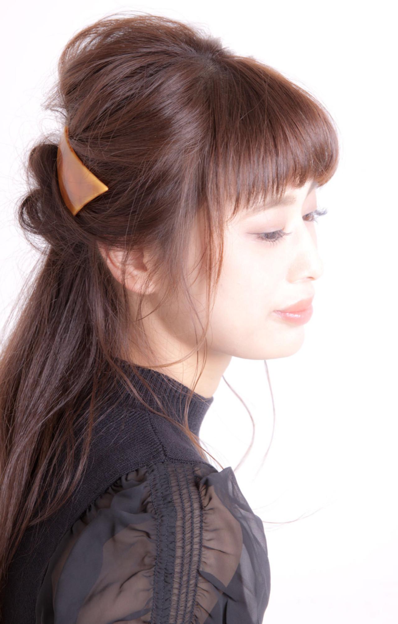 ハーフアップ ヘアアレンジ ショート 大人女子 ヘアスタイルや髪型の写真・画像
