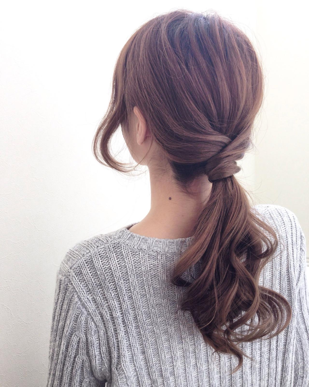 モテ髪 ブラウン セミロング コンサバ ヘアスタイルや髪型の写真・画像