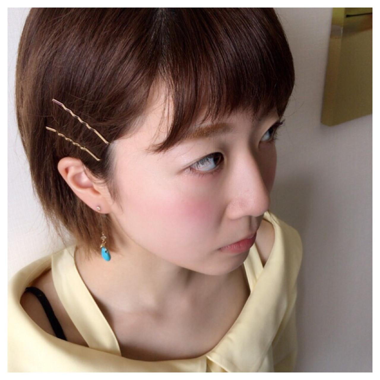 斜め前髪 色気 ガーリー ヘアピン ヘアスタイルや髪型の写真・画像
