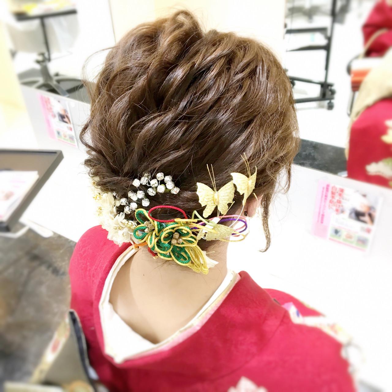 振袖 ヘアアレンジ 成人式 ショート ヘアスタイルや髪型の写真・画像