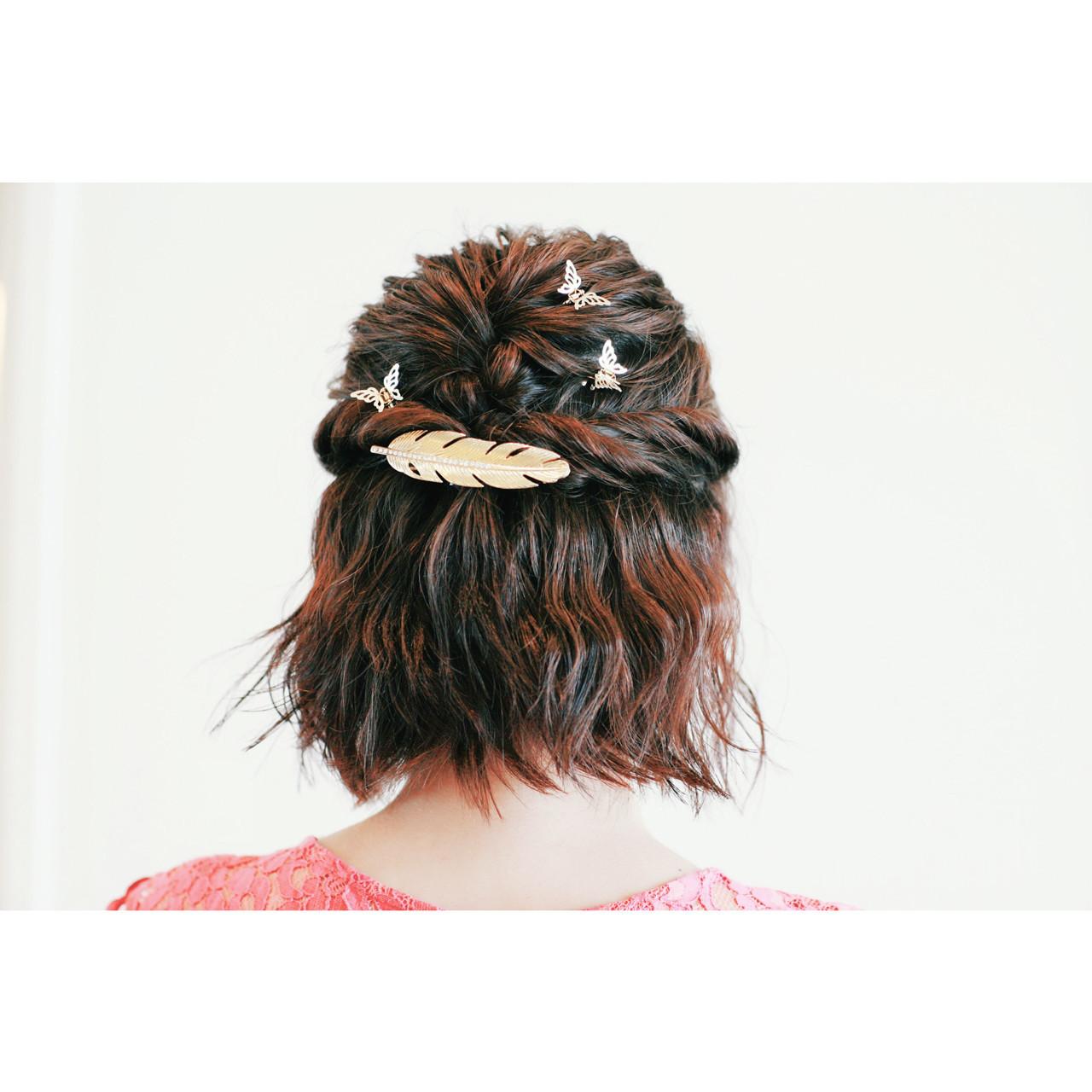 ハーフアップ ボブ ヘアアレンジ 波ウェーブ ヘアスタイルや髪型の写真・画像