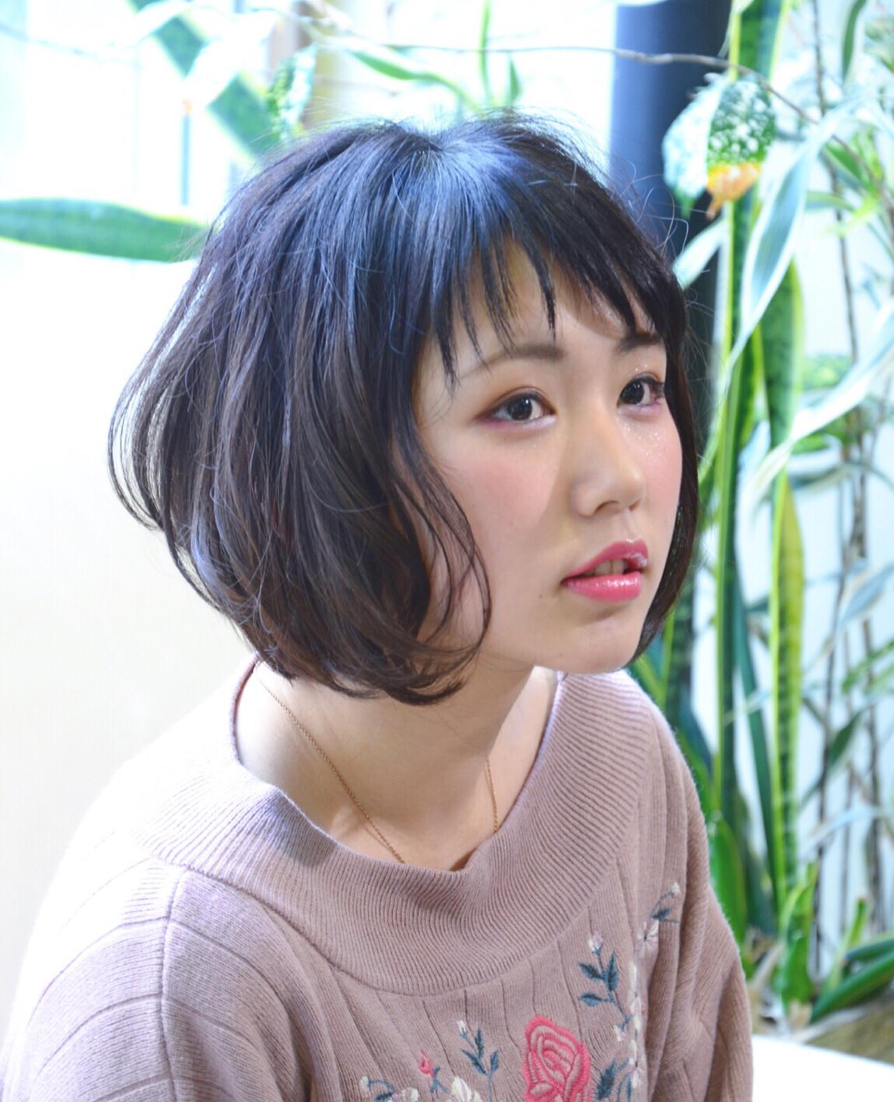 小顔 ニュアンス 似合わせ ショート ヘアスタイルや髪型の写真・画像