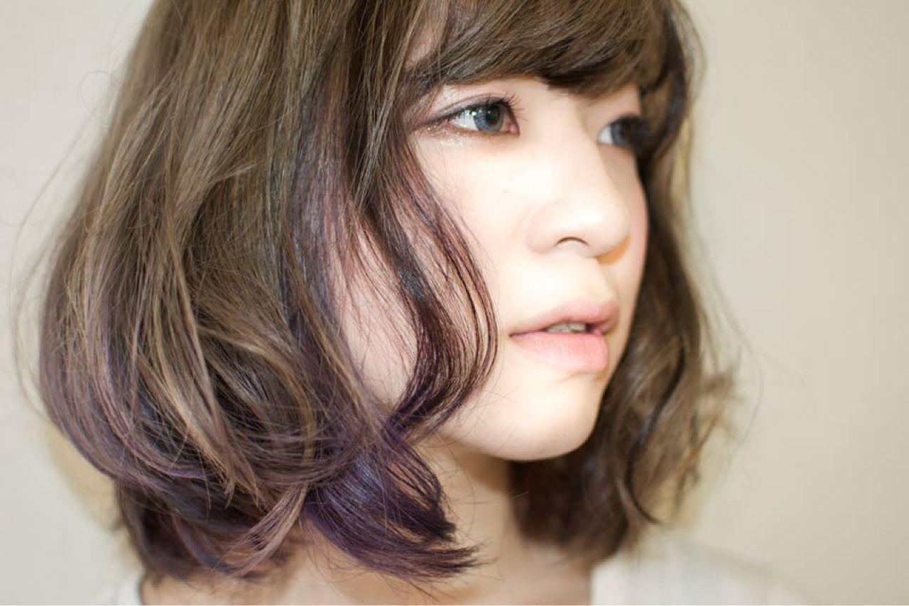 ゆるふわ パープル 外国人風 グラデーションカラー ヘアスタイルや髪型の写真・画像