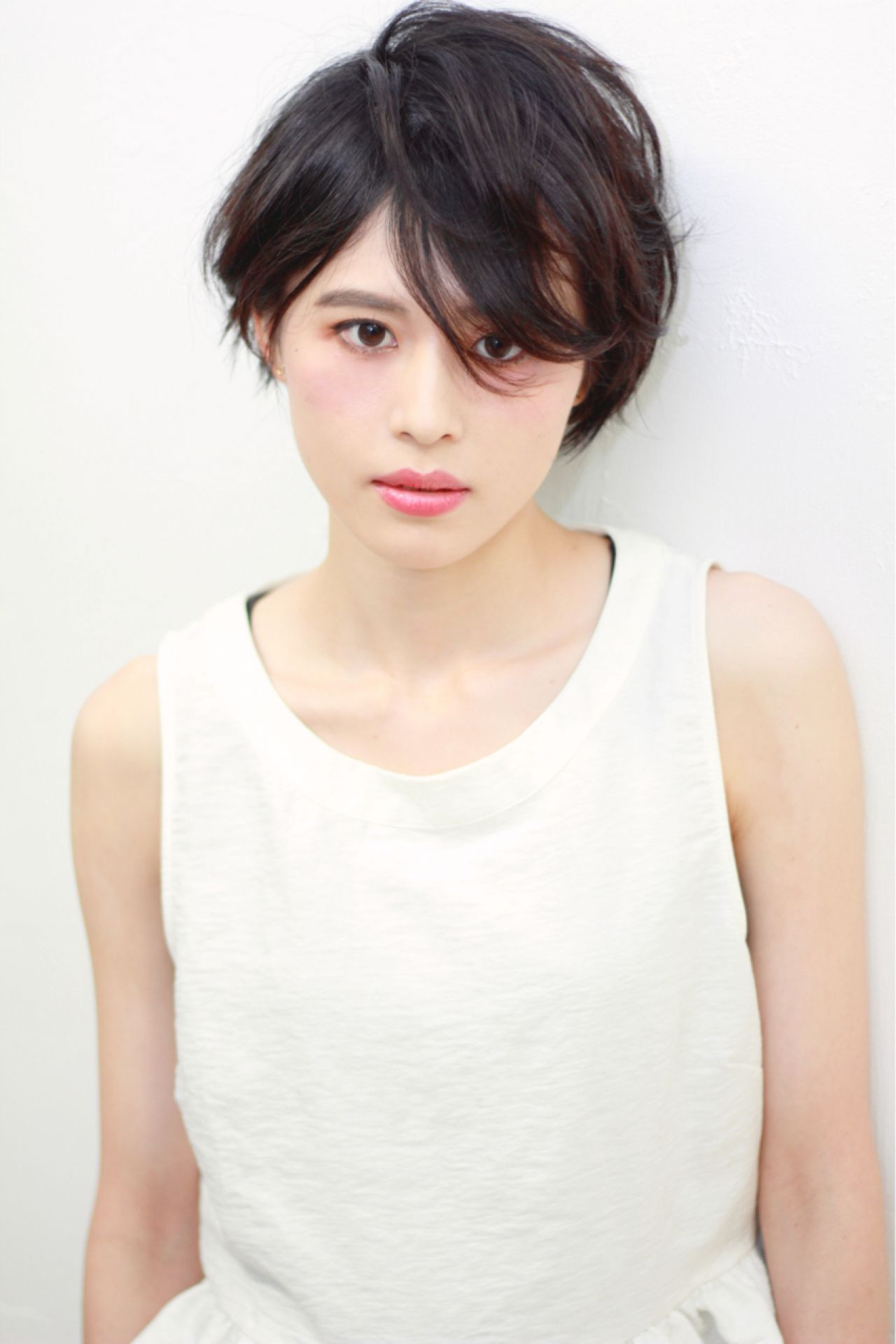 モード ショート 黒髪 秋 ヘアスタイルや髪型の写真・画像
