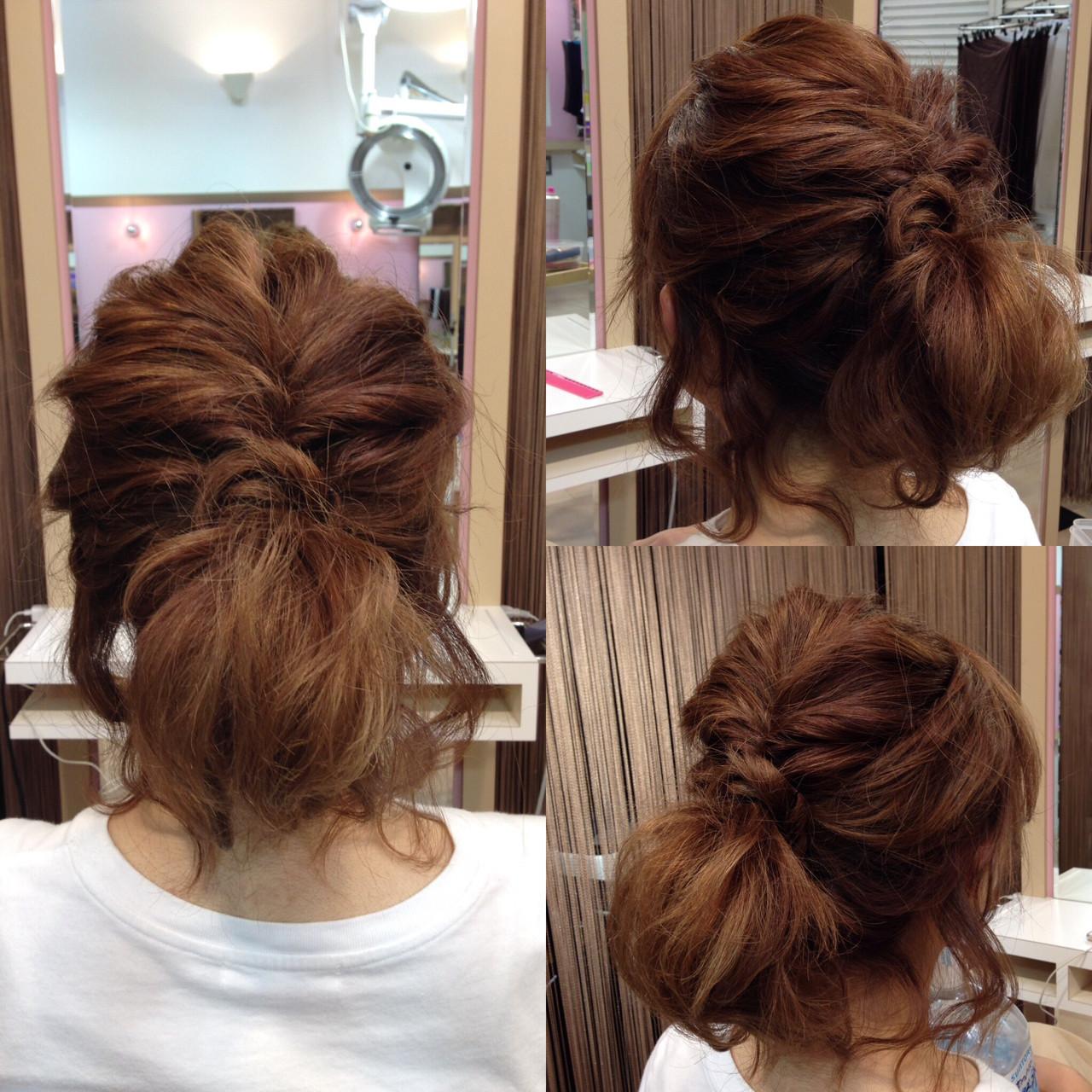 簡単ヘアアレンジ ミディアム くるりんぱ ショート ヘアスタイルや髪型の写真・画像
