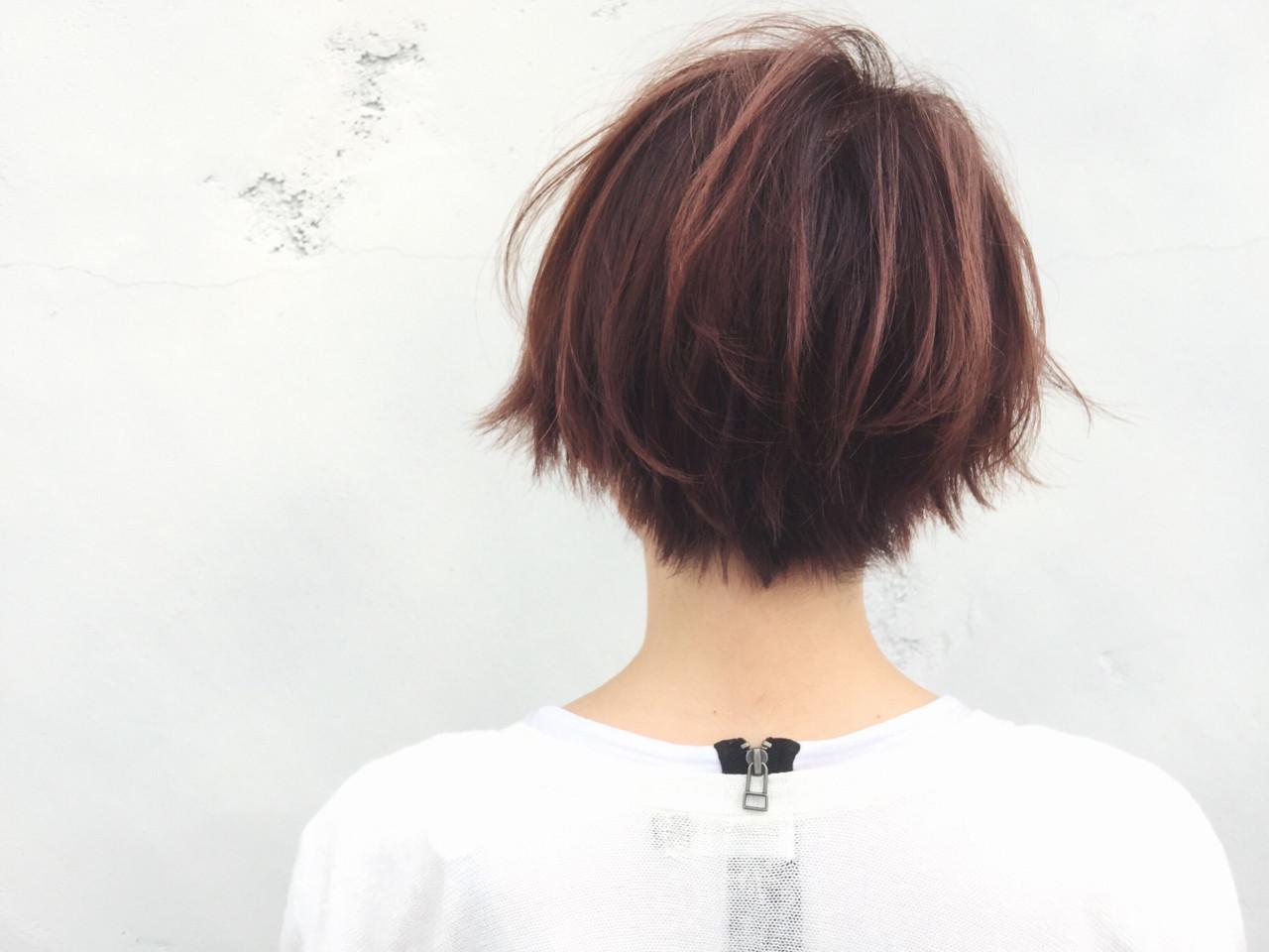 ハイライト ピンク ハイトーン ショート ヘアスタイルや髪型の写真・画像