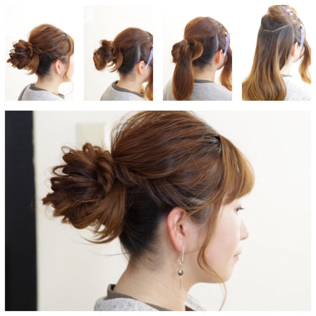 簡単ヘアアレンジ フェミニン ショート アンニュイ ヘアスタイルや髪型の写真・画像