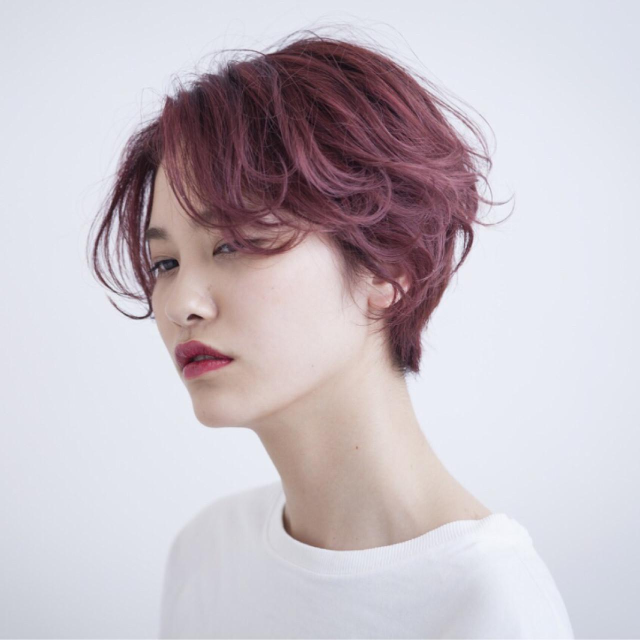 ストリート ピンク ショート イルミナカラー ヘアスタイルや髪型の写真・画像