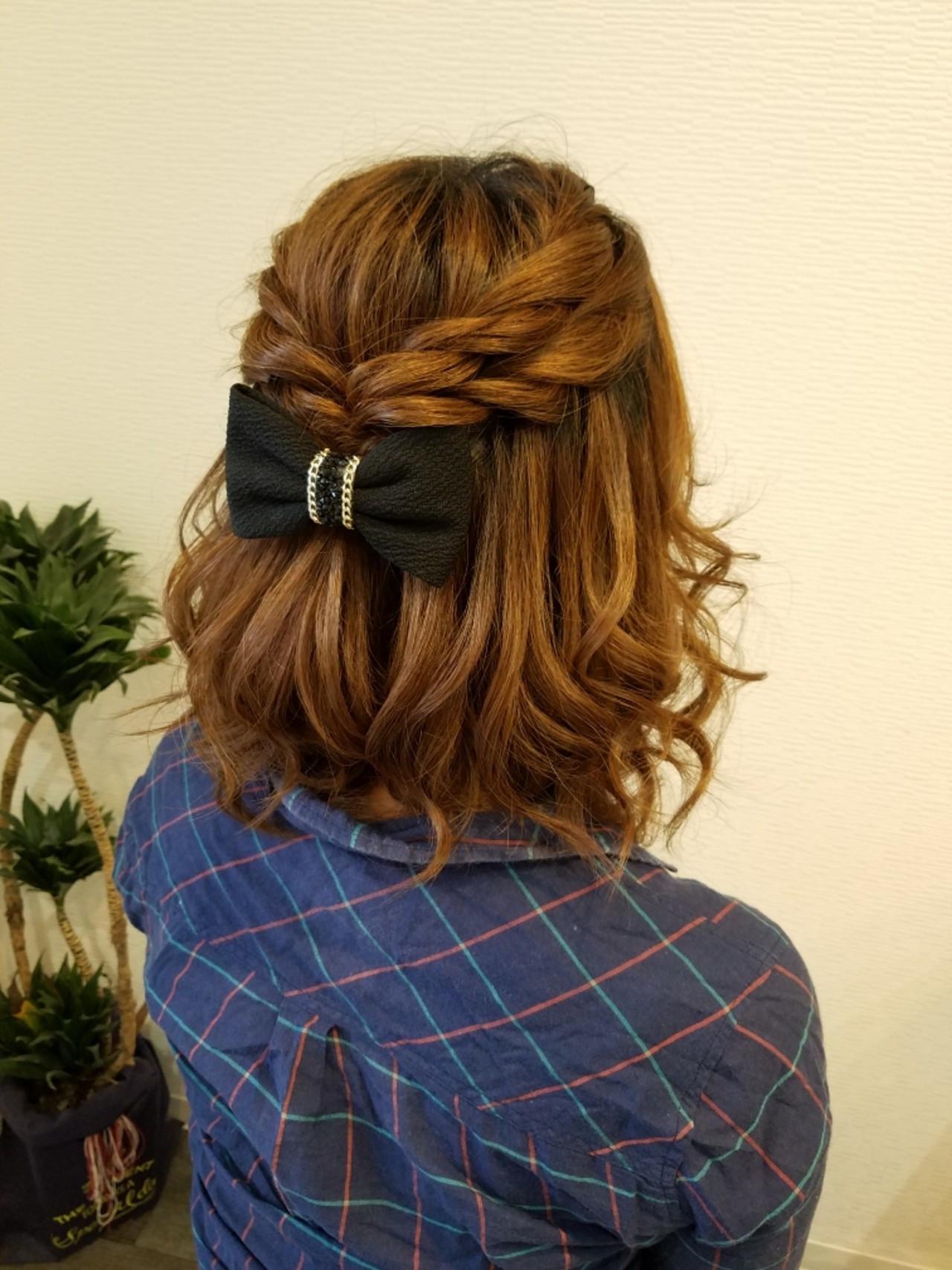 ヘアアレンジ ハーフアップ ボブ ナチュラル ヘアスタイルや髪型の写真・画像