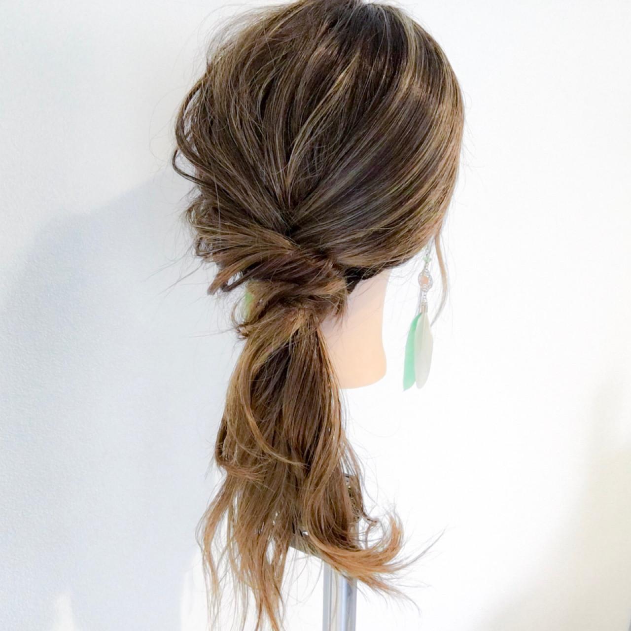 スポーツ 簡単ヘアアレンジ ポニーテール ナチュラル ヘアスタイルや髪型の写真・画像