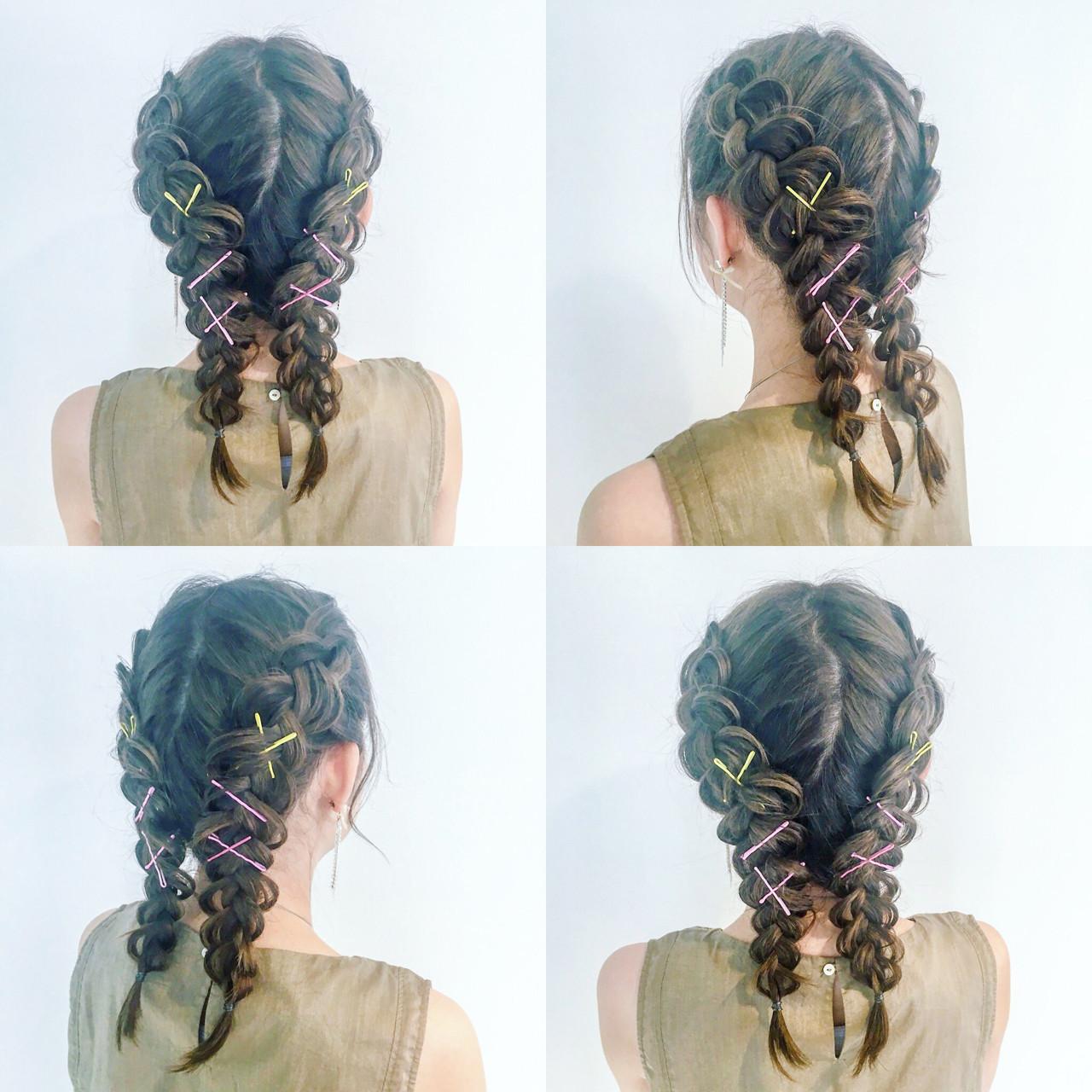 セミロング ガーリー ヘアアレンジ かわいい ヘアスタイルや髪型の写真・画像