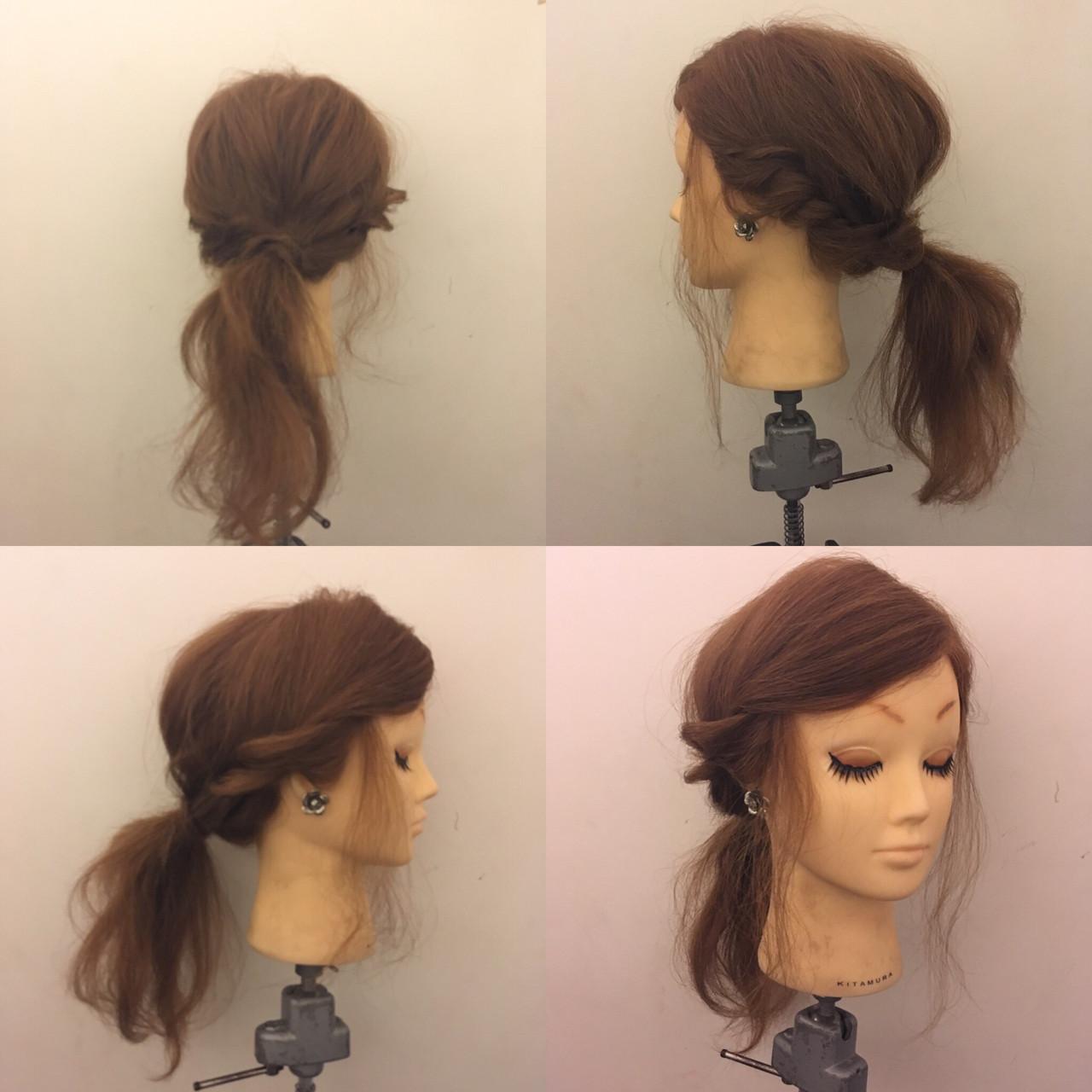 ヘアアレンジ ナチュラル ロープ編み ローポニーテール ヘアスタイルや髪型の写真・画像