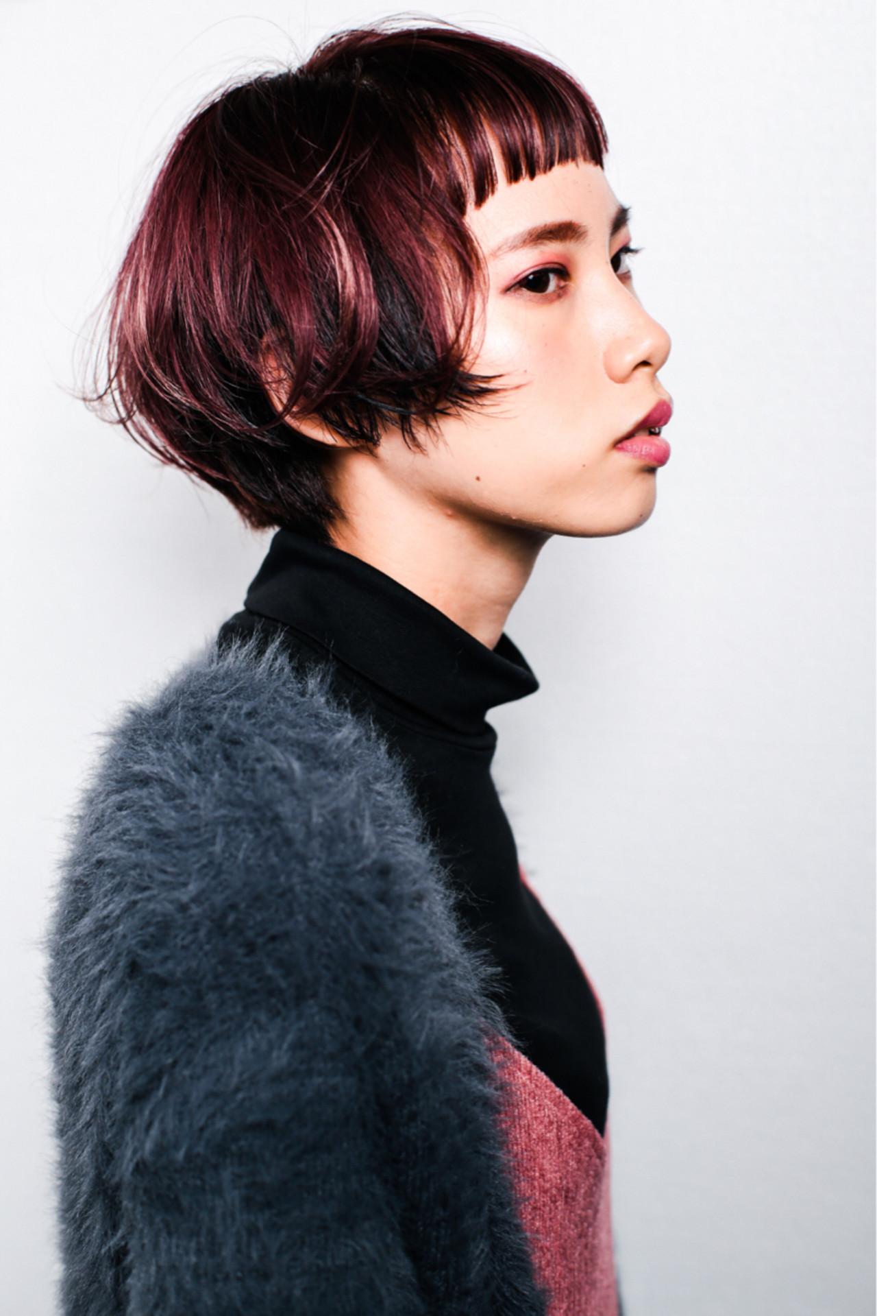 パープル 前髪あり ピンク ボブ ヘアスタイルや髪型の写真・画像
