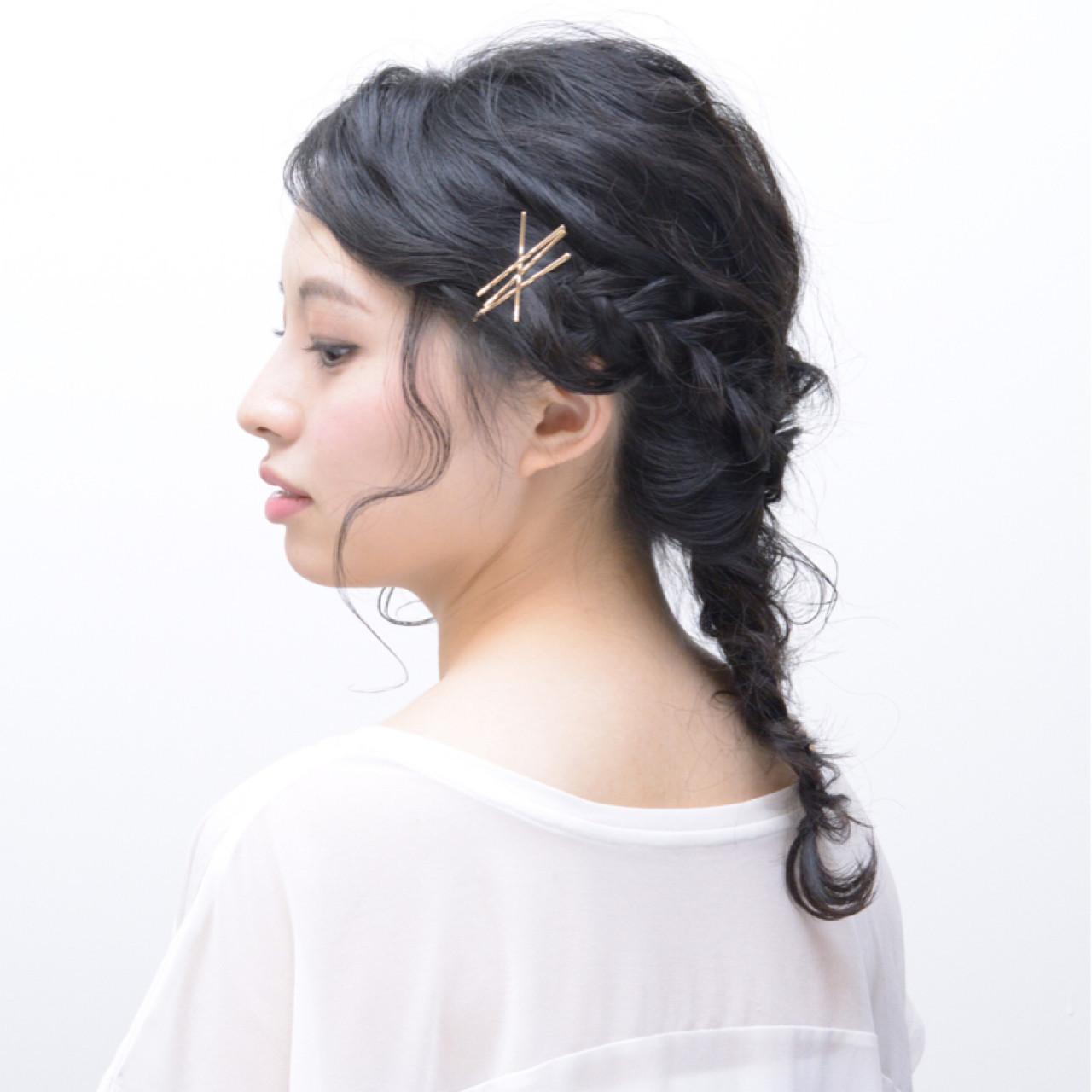 ナチュラル ヘアアレンジ セミロング ヘアスタイルや髪型の写真・画像