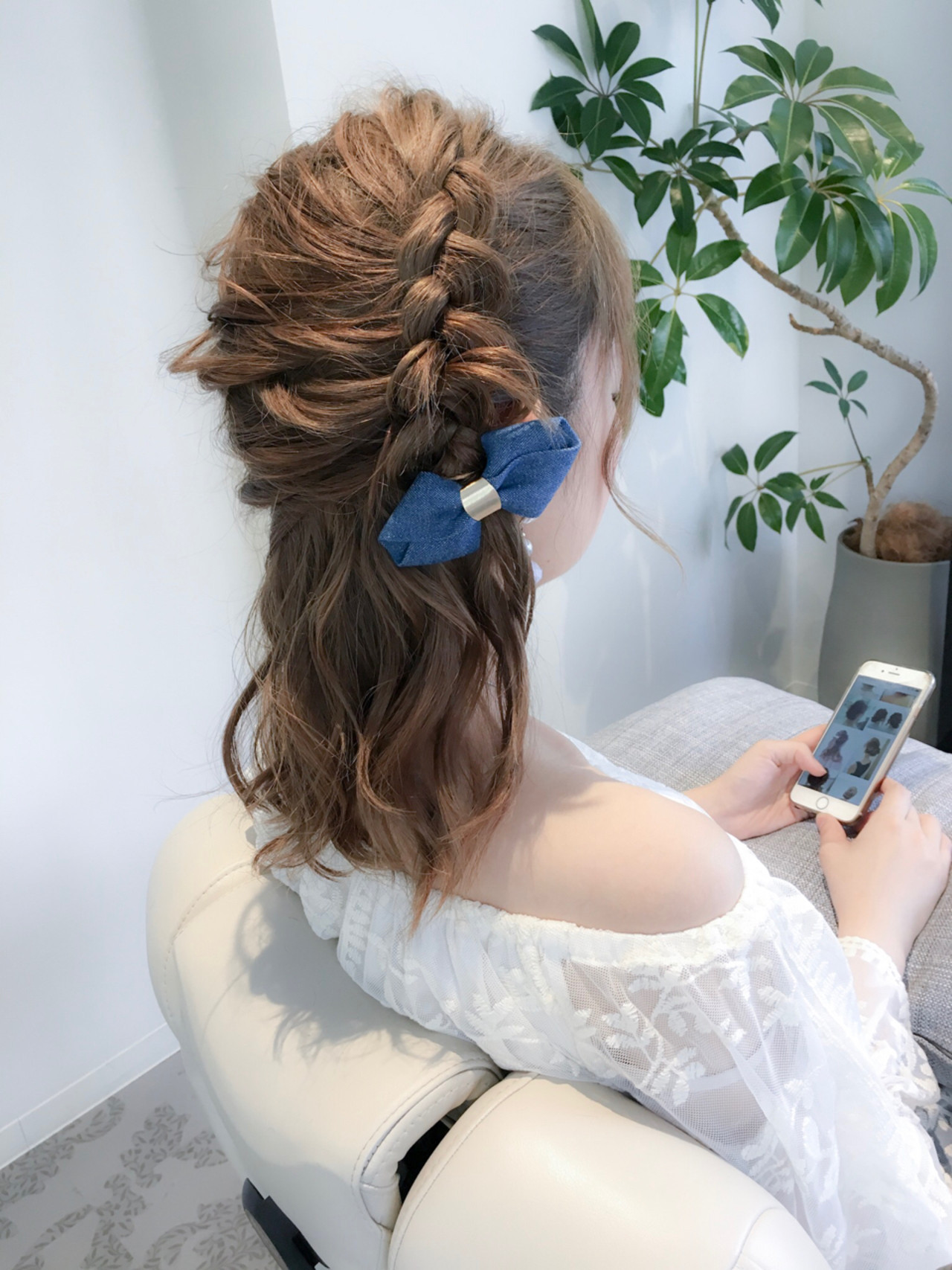 セミロング デート 編み込み ハーフアップ ヘアスタイルや髪型の写真・画像