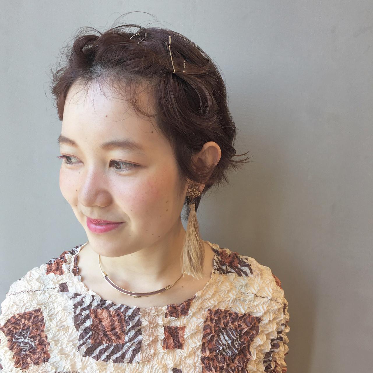 カッパー 簡単ヘアアレンジ ショート 夏 ヘアスタイルや髪型の写真・画像