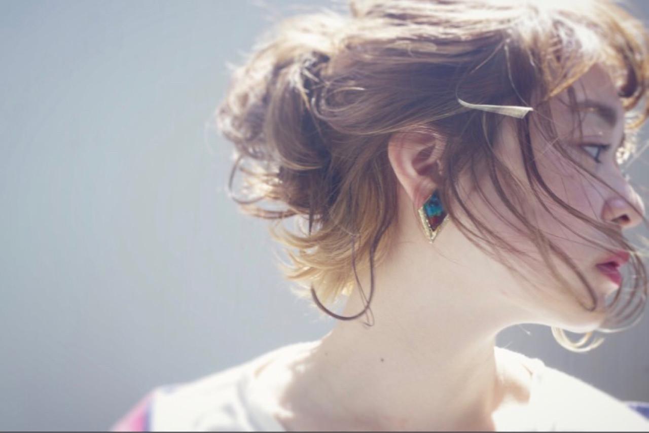 ショート デート 大人女子 簡単ヘアアレンジ ヘアスタイルや髪型の写真・画像