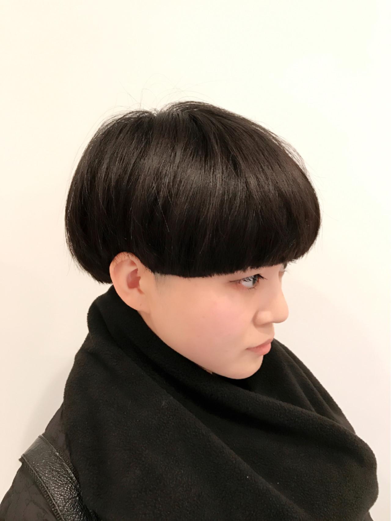ボブ 刈り上げ ショート ワンレングス ヘアスタイルや髪型の写真・画像