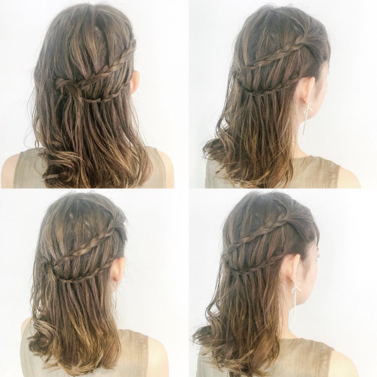 デート セミロング 女子会 フェミニン ヘアスタイルや髪型の写真・画像