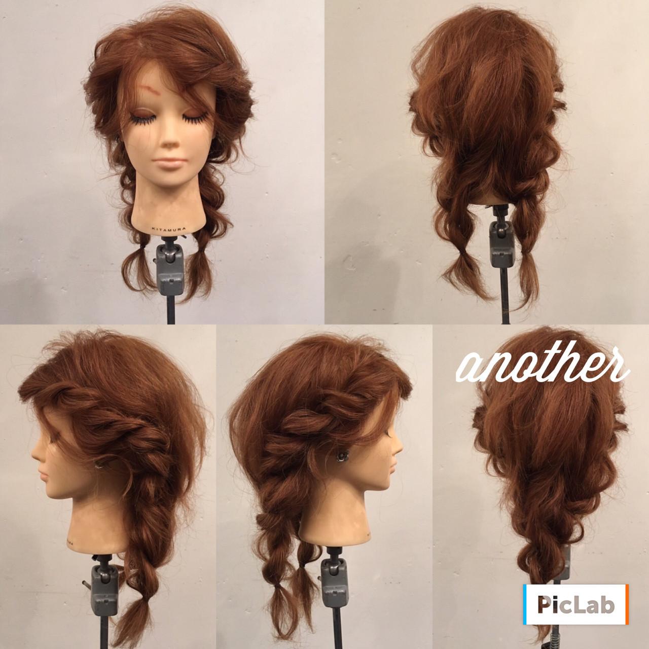 波ウェーブ セミロング ツインテール 編み込み ヘアスタイルや髪型の写真・画像