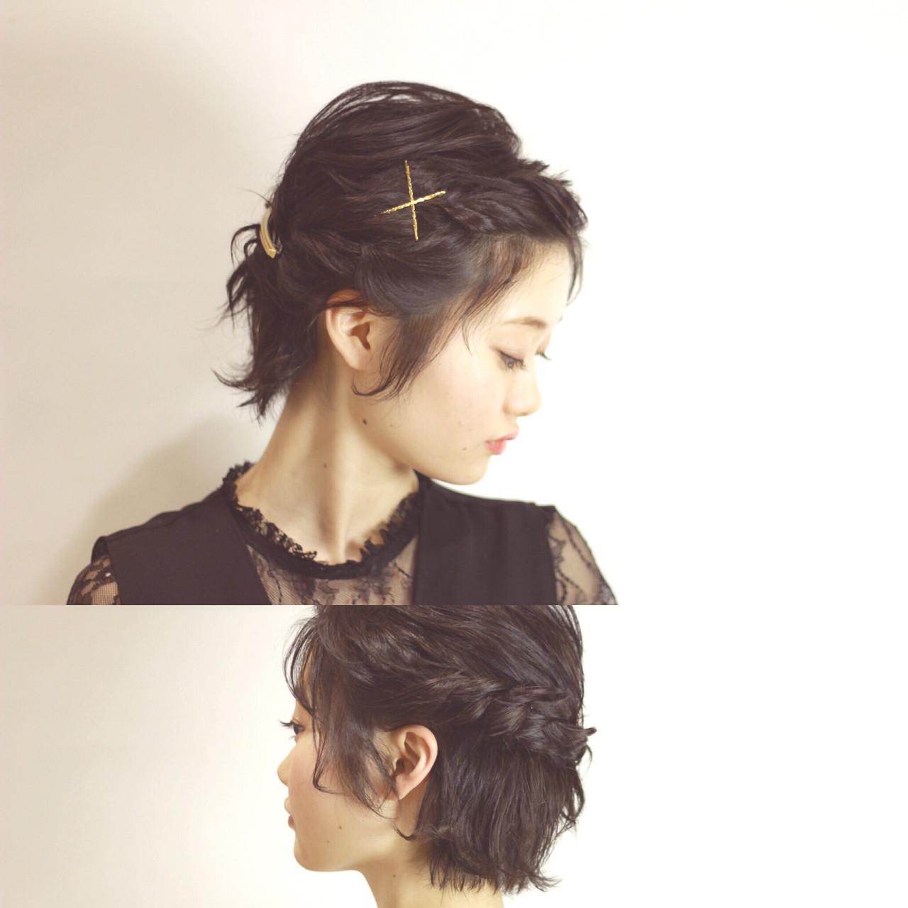 ショート 編み込み 結婚式 簡単ヘアアレンジ ヘアスタイルや髪型の写真・画像