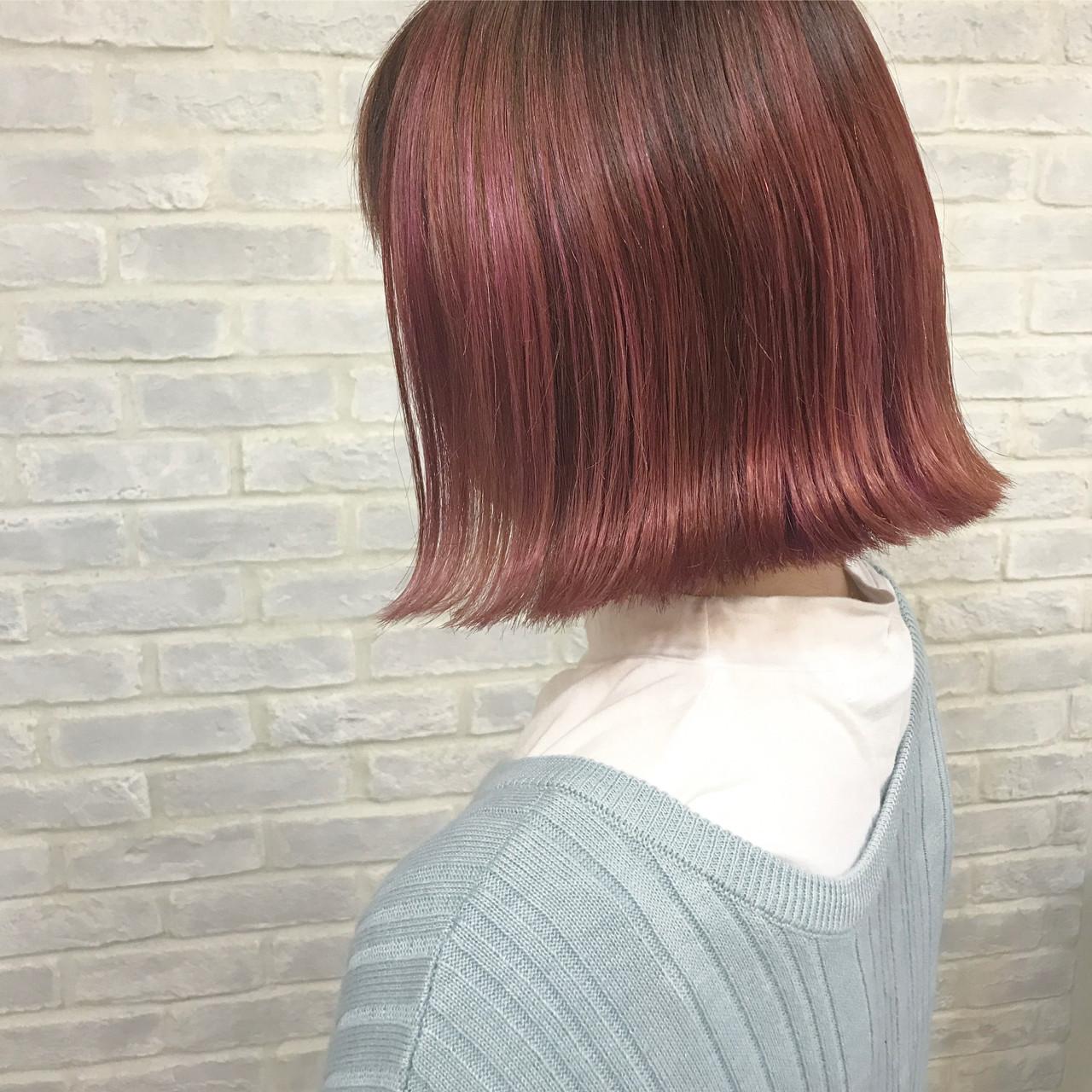 ボブ レッド ピンク ガーリー ヘアスタイルや髪型の写真・画像