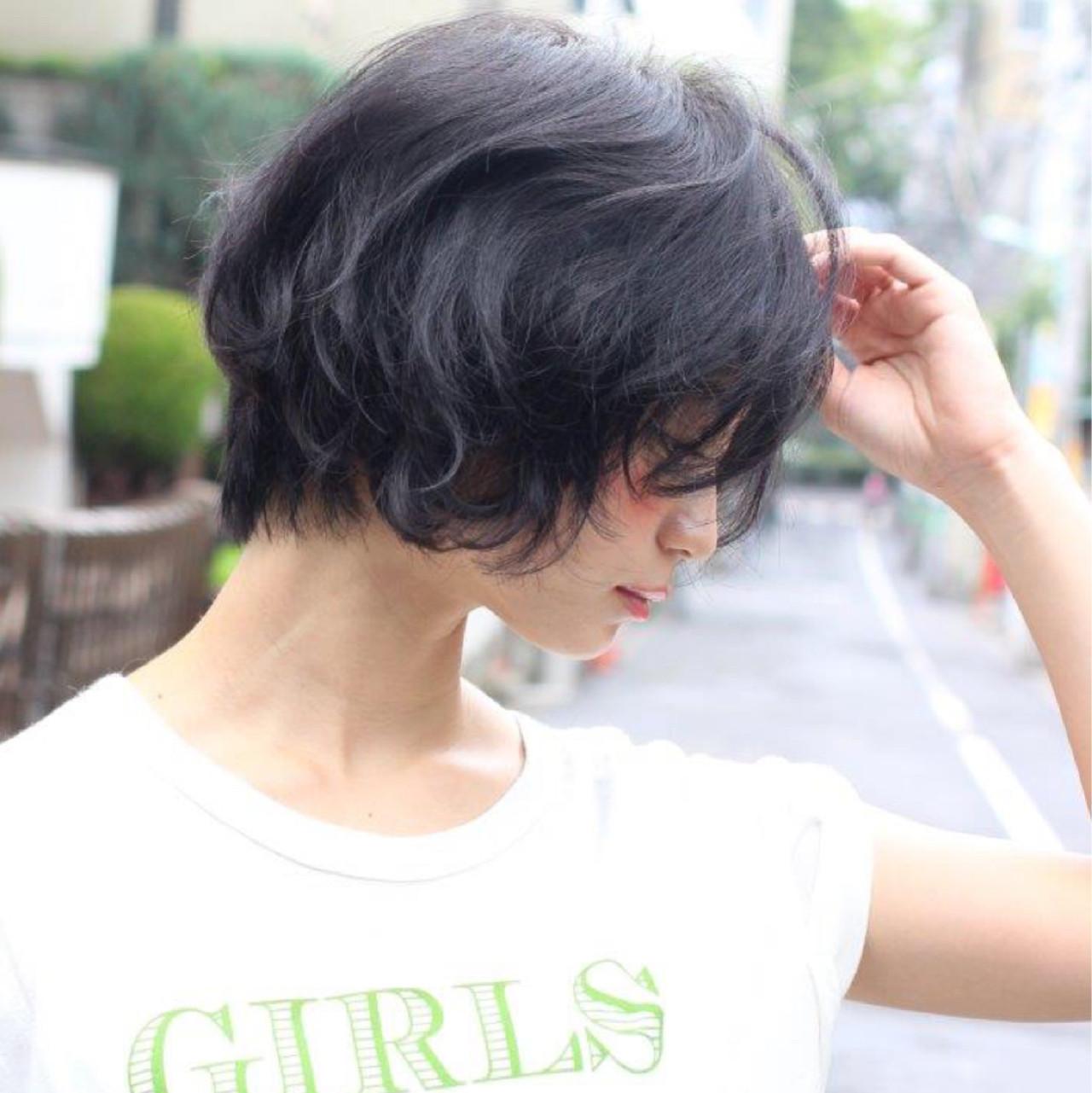 黒髪 ボブ ニュアンス ショート ヘアスタイルや髪型の写真・画像