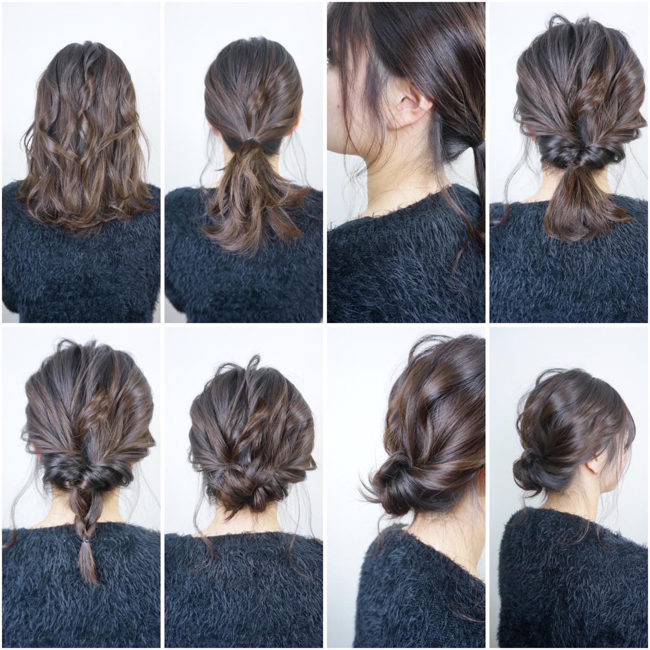 大人女子 ヘアアレンジ セミロング セルフヘアアレンジ ヘアスタイルや髪型の写真・画像