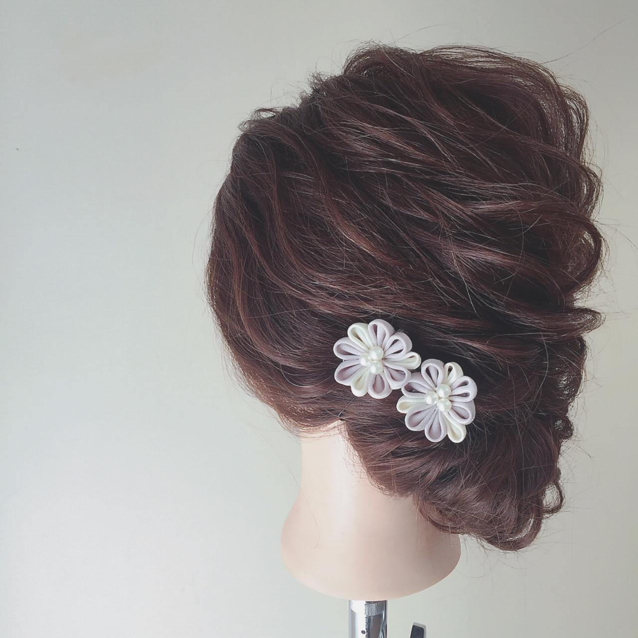 セミロング ルーズ エレガント 結婚式 ヘアスタイルや髪型の写真・画像