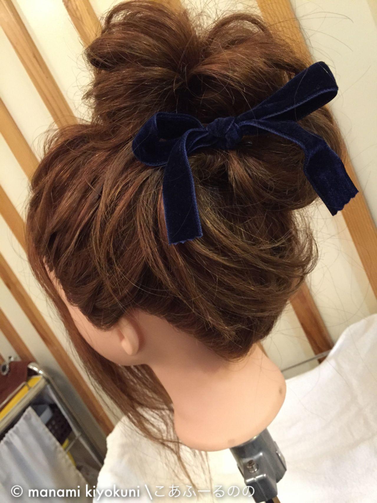 ヘアアレンジ ロング お団子 ストリート ヘアスタイルや髪型の写真・画像