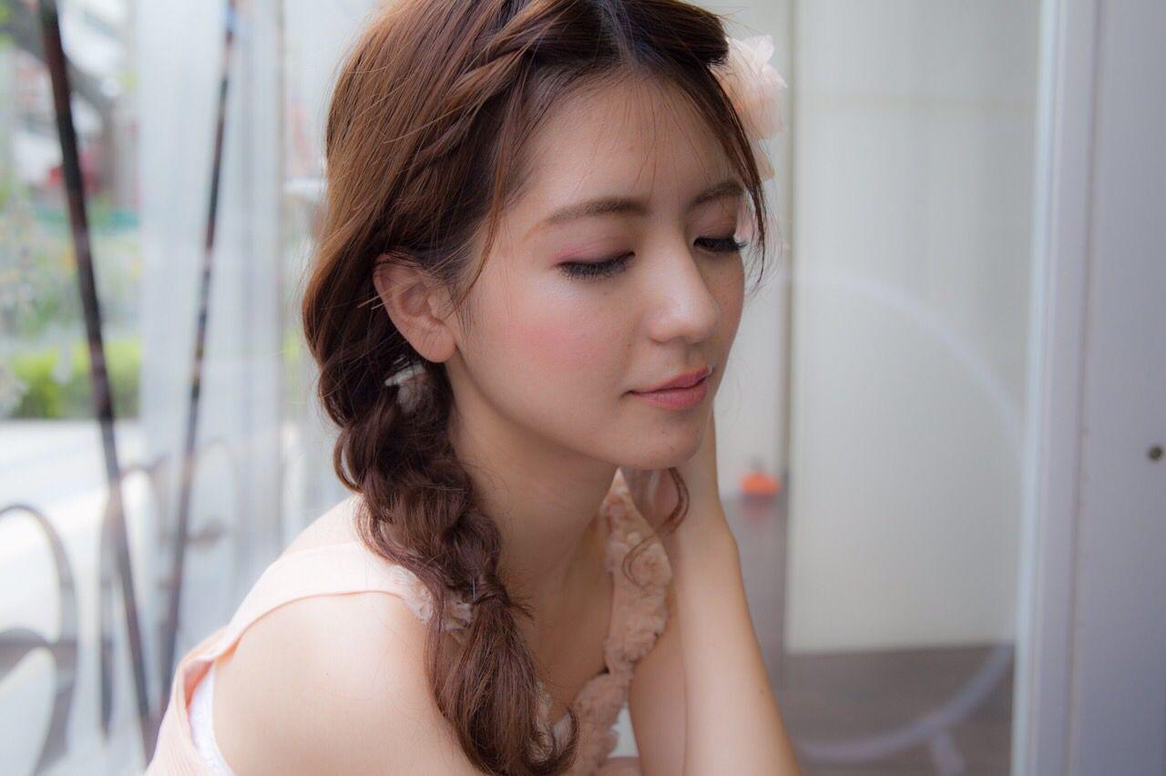 結婚式 セミロング ヘアアレンジ 三つ編み ヘアスタイルや髪型の写真・画像
