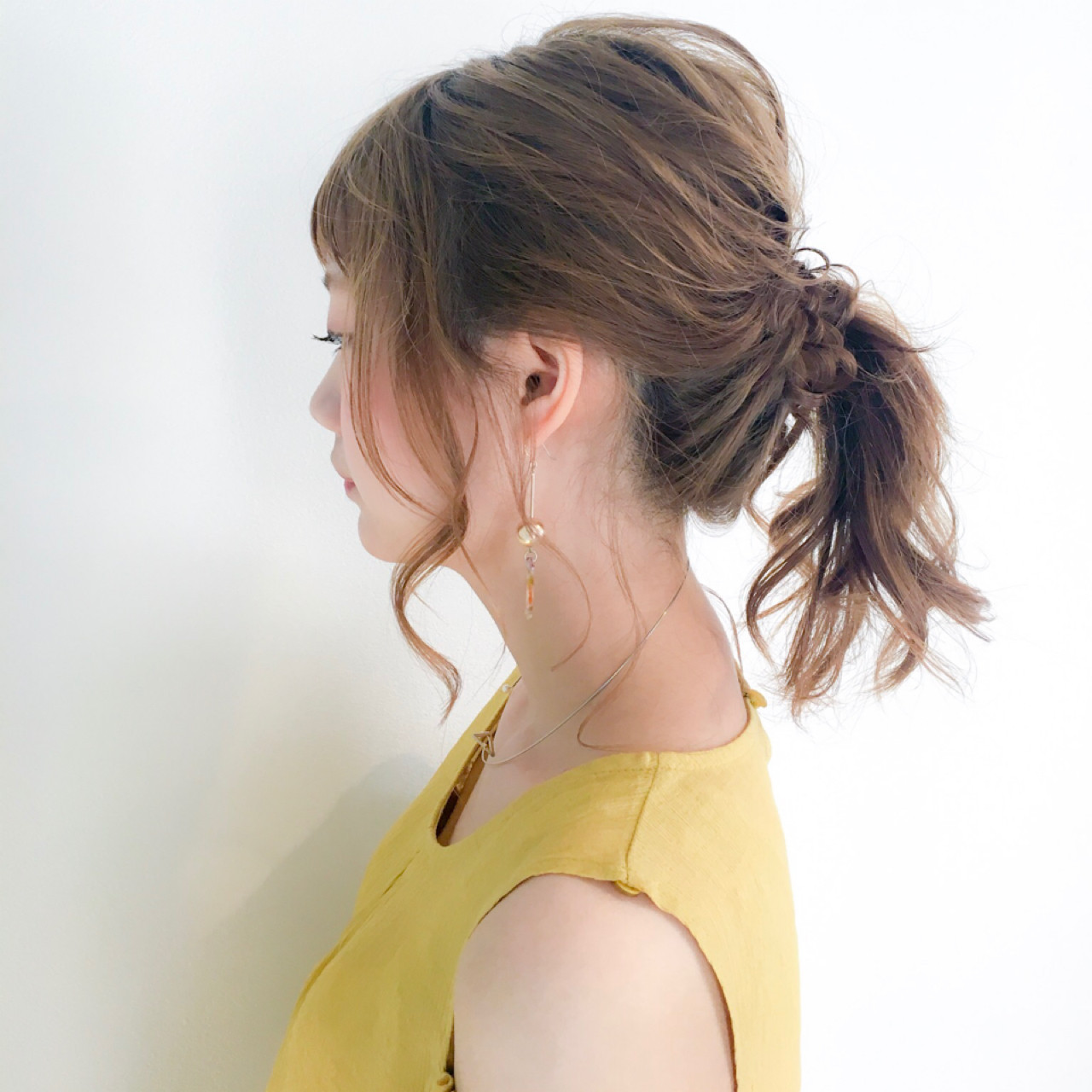セミロング デート 女子会 ポニーテール ヘアスタイルや髪型の写真・画像