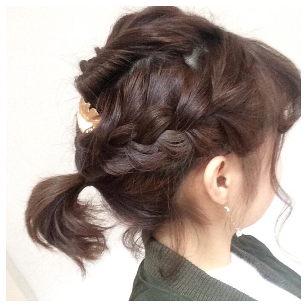 編み込み ヘアアレンジ ボブ くるりんぱ ヘアスタイルや髪型の写真・画像