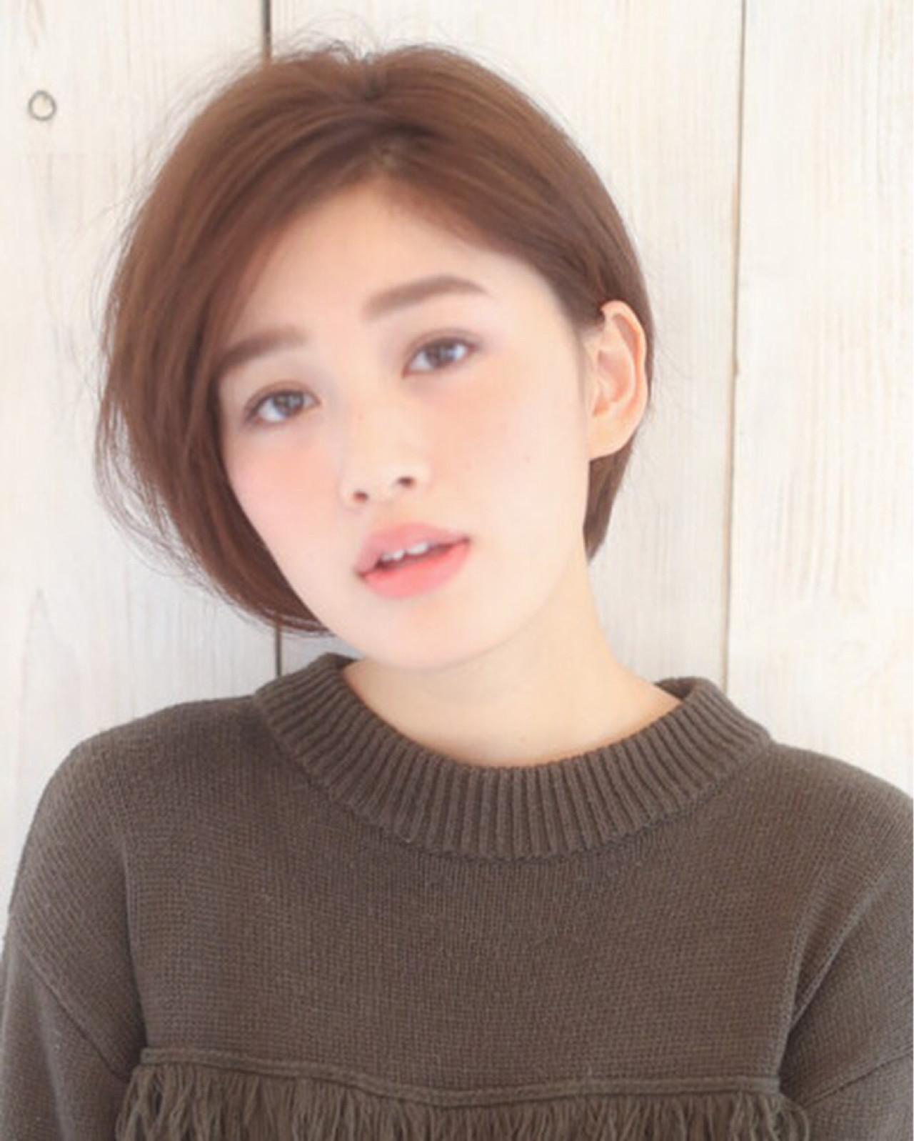大人かわいい 小顔 こなれ感 ショート ヘアスタイルや髪型の写真・画像