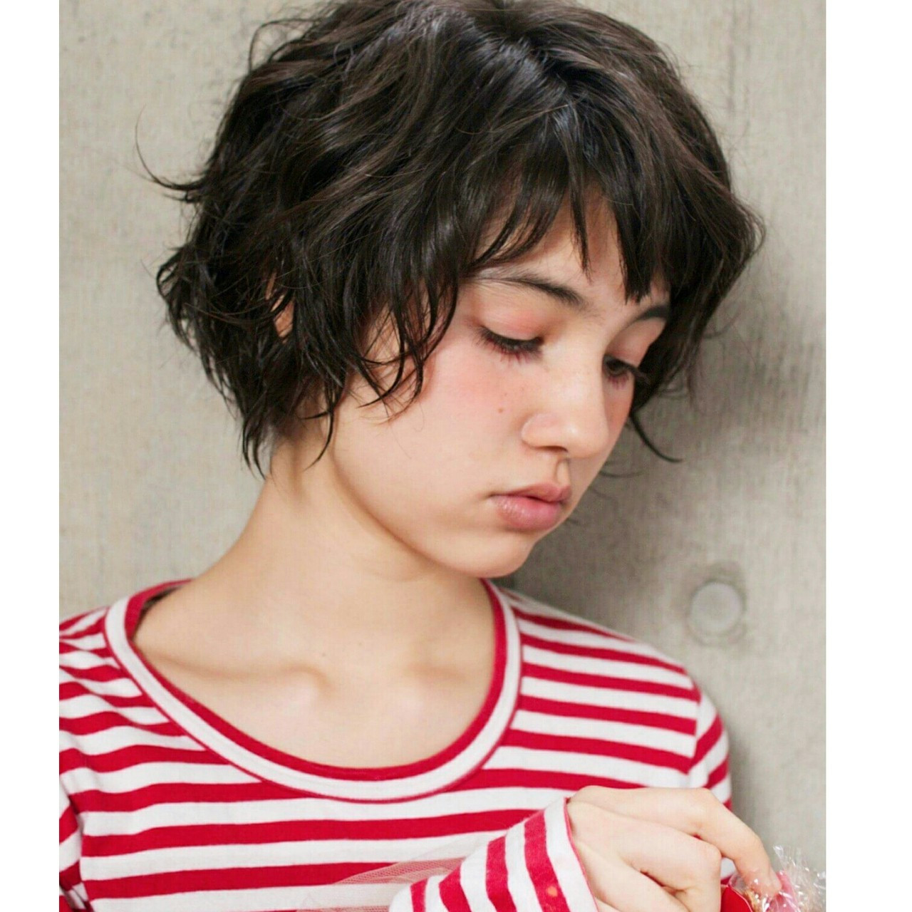 簡単 ストリート パーマ 暗髪 ヘアスタイルや髪型の写真・画像