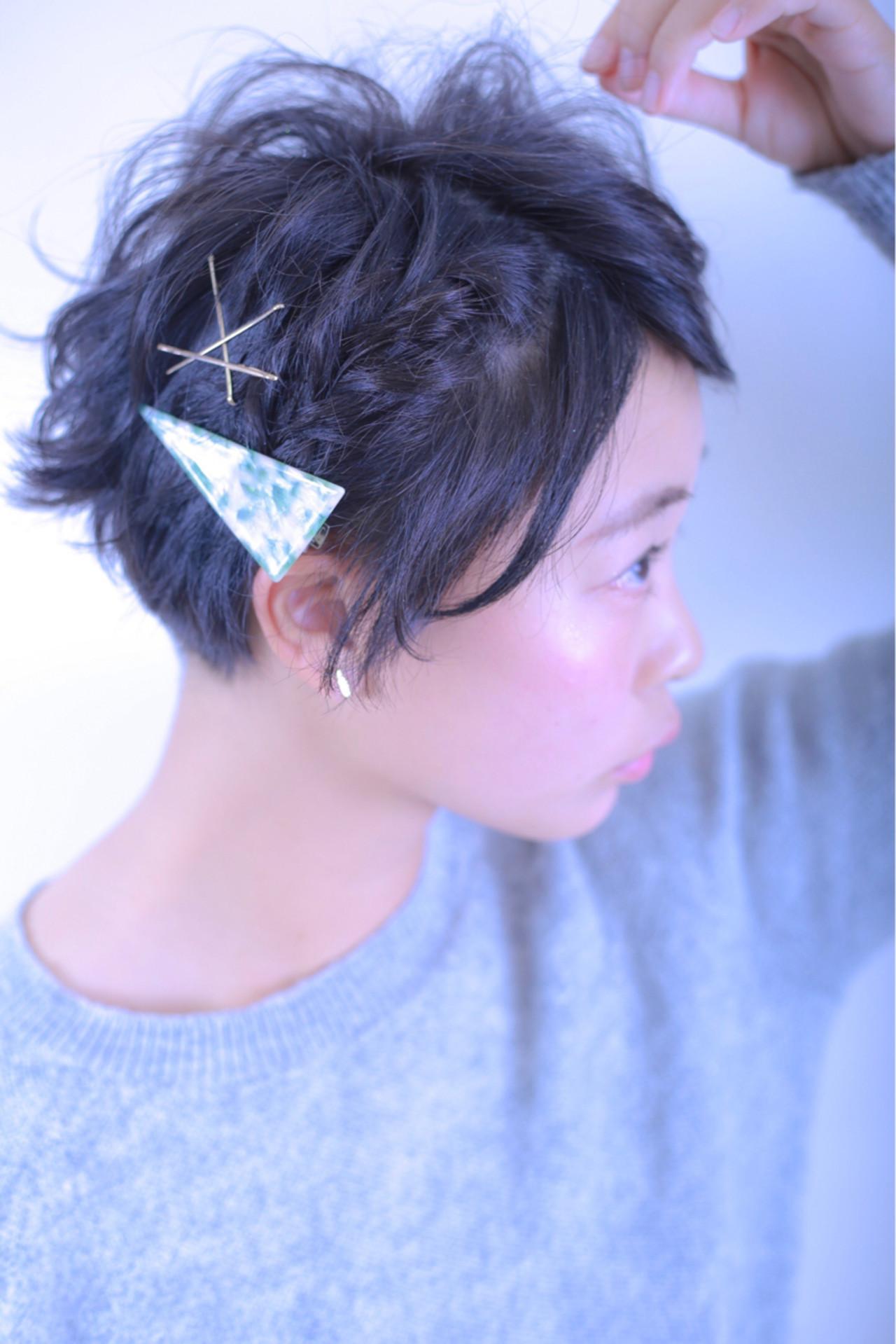 外国人風 ショート ヘアアレンジ 刈り上げ ヘアスタイルや髪型の写真・画像