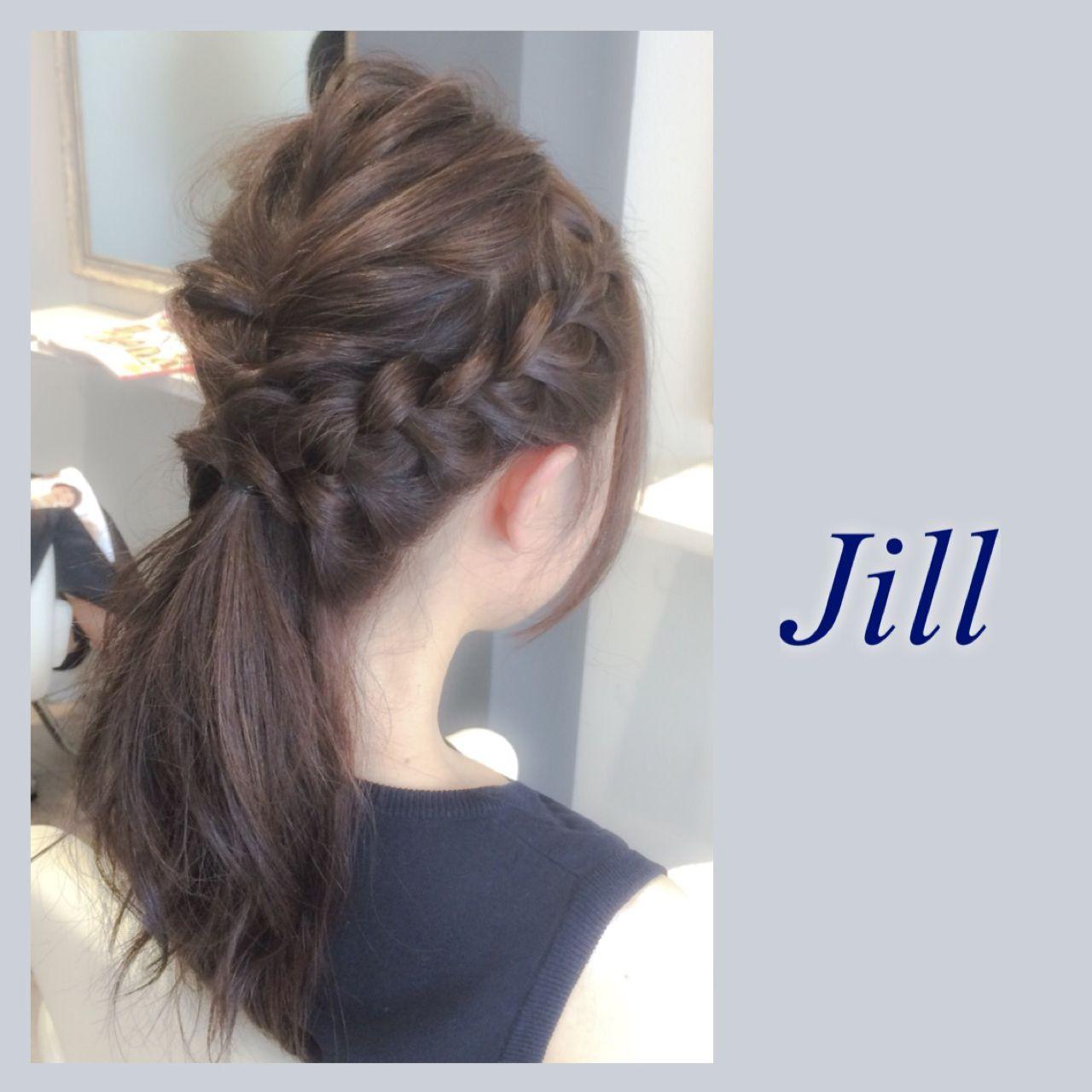 グレージュ 編み込み 簡単ヘアアレンジ ポニーテール ヘアスタイルや髪型の写真・画像
