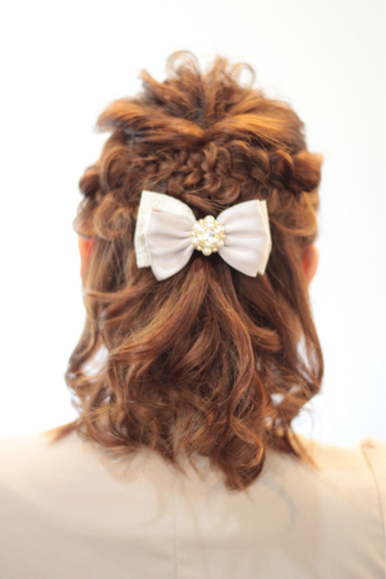 くるりんぱ 編み込み ミディアム ハーフアップ ヘアスタイルや髪型の写真・画像