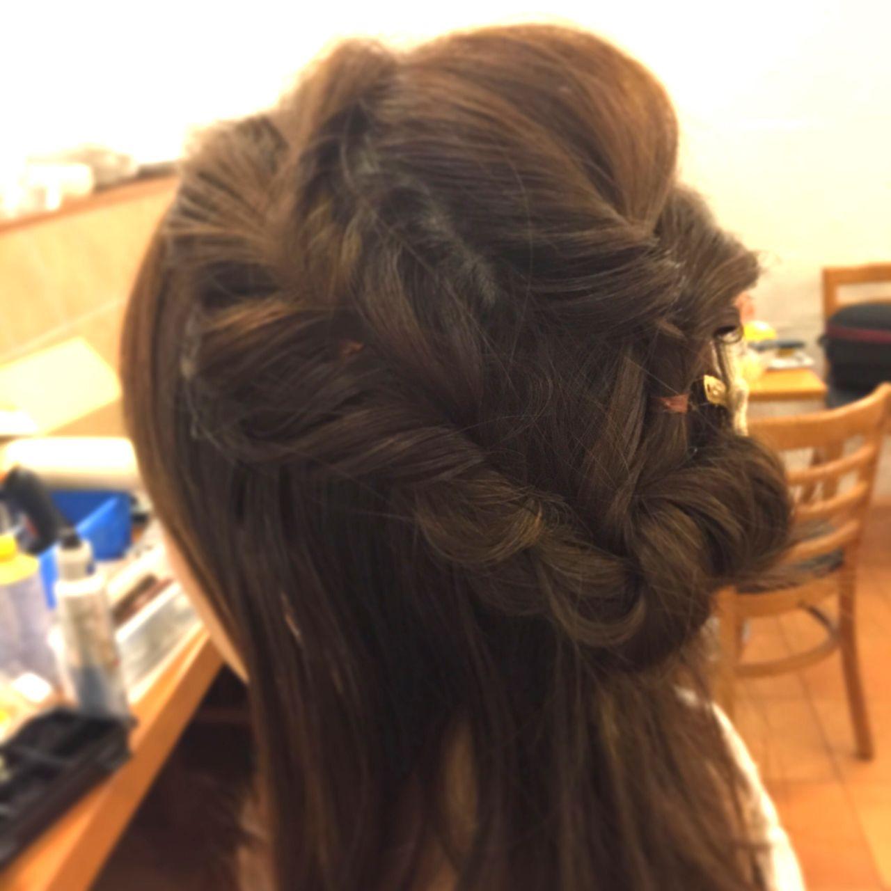 くるりんぱ ハーフアップ 編み込み ショート ヘアスタイルや髪型の写真・画像