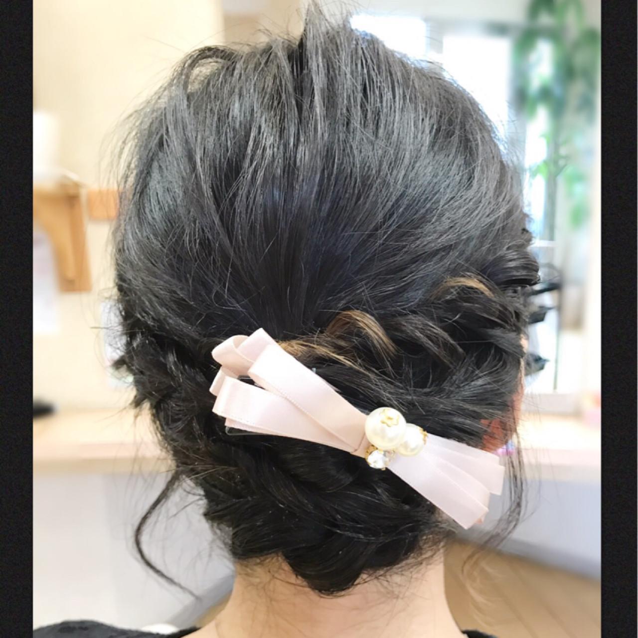 編み込み ボブ バナナクリップ 結婚式 ヘアスタイルや髪型の写真・画像